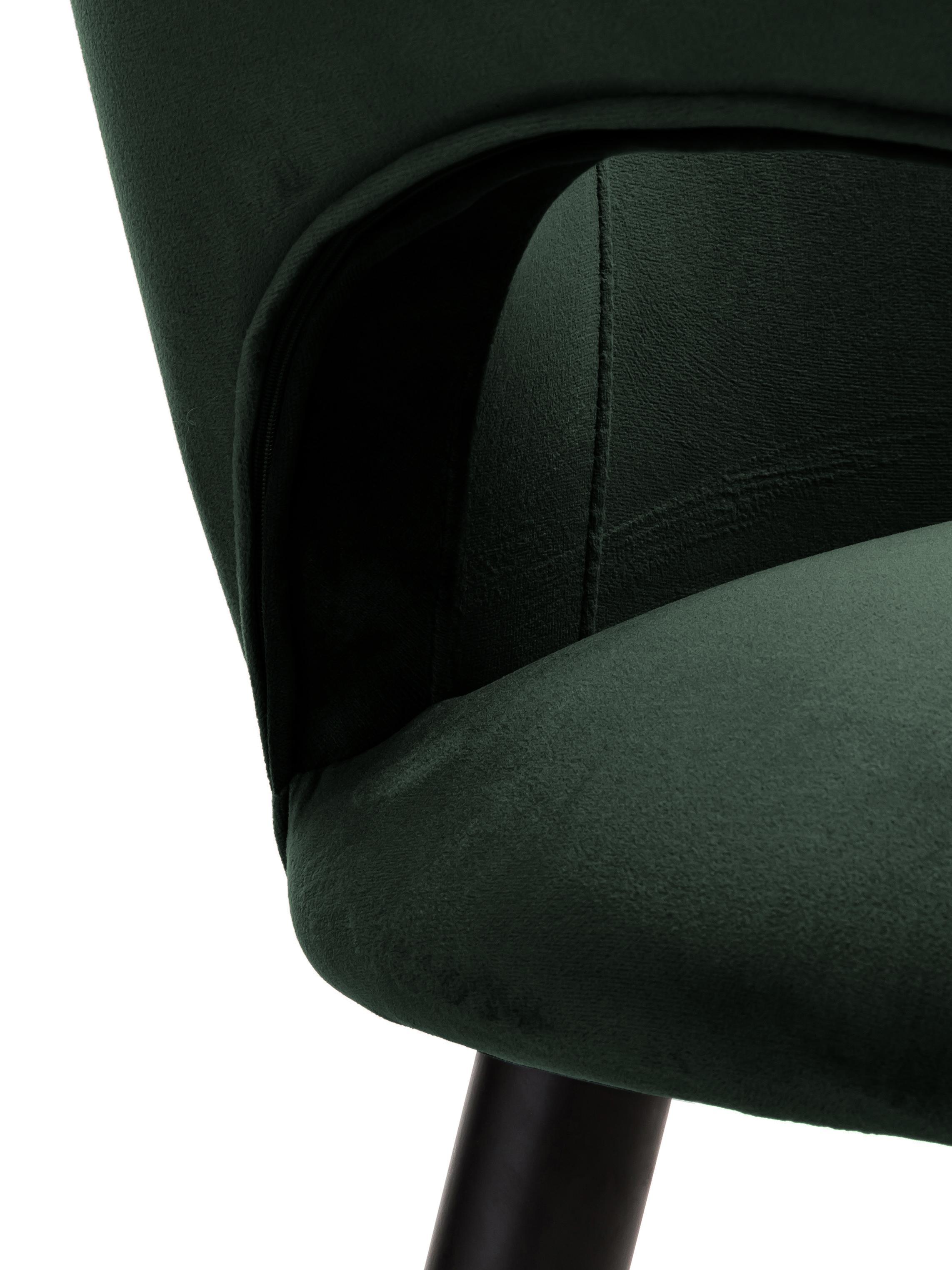 Fluwelen armstoel Rachel, Bekleding: fluweel (polyester), Poten: gepoedercoat metaal, Fluweel donkergroen, B 47 x D 64 cm