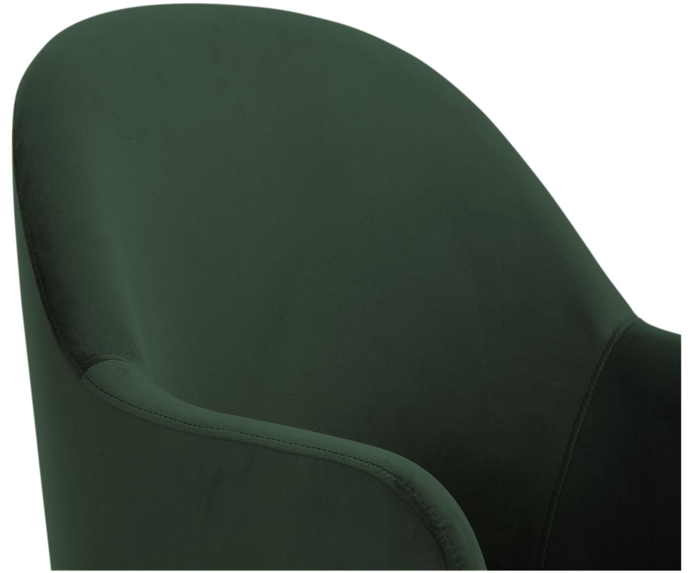 Fluwelen armstoel Rachel, Bekleding: fluweel (polyester), Poten: gepoedercoat metaal, Donkergroen, B 47 x D 64 cm