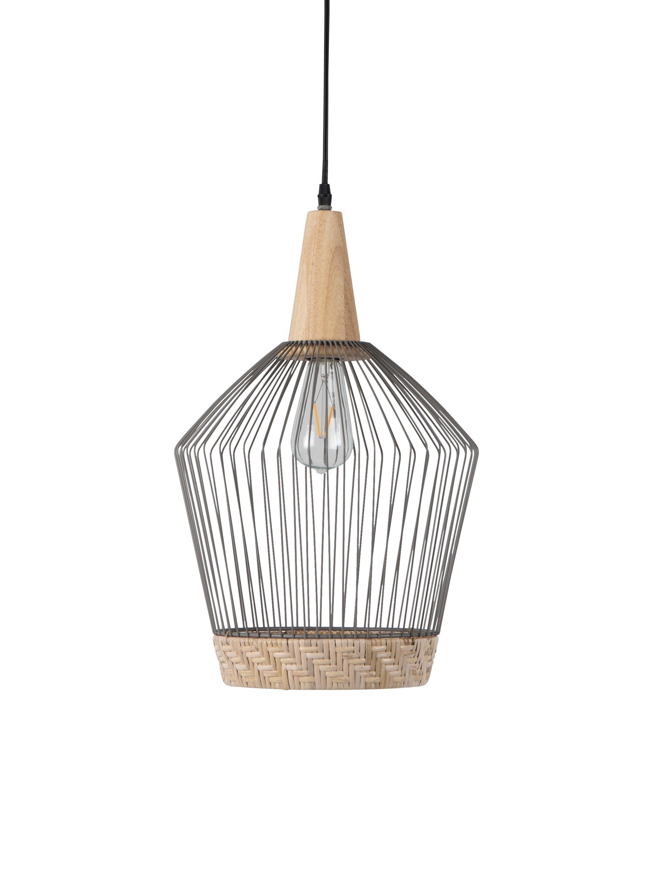 Lampa wisząca z rattanu i metalu Birdy, Klosz: rattan, jasny szary Osłona mocowania sufitowego: drewno kauczukowe, Ø 31 x W 48 cm