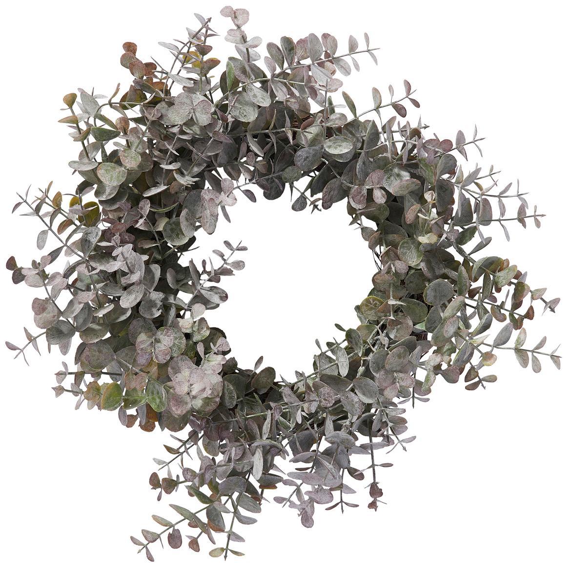 Corona navideña Eurelia, Plástico, Verde grisaceo, Ø 34 x Al 10 cm