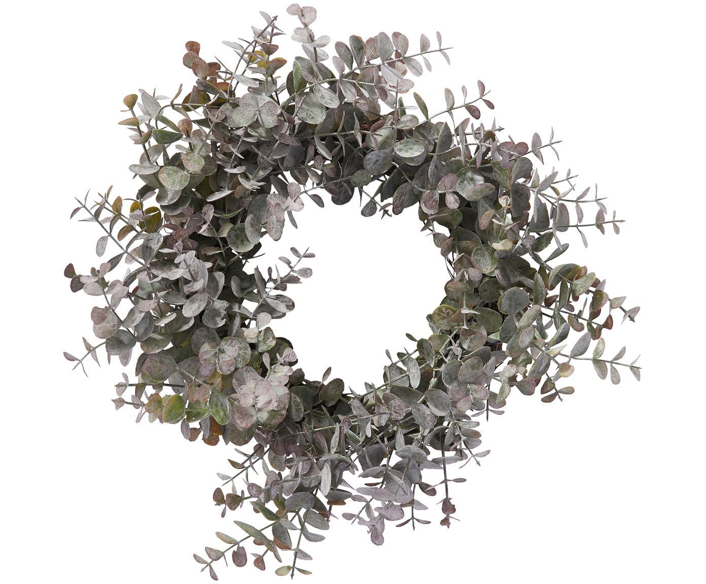 Eukalyptuskranz Eurelia, Kunststoff, Pudergrün, Ø 34 x H 10 cm