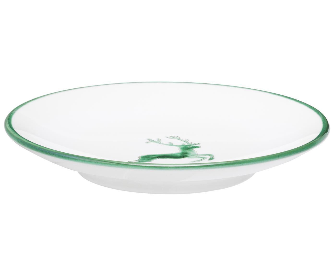 Ręcznie malowany spodek pod filiżankę Classic Grüner Hirsch, Ceramika, Zielony, biały, Ø 15 cm