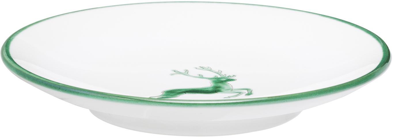 Handbemalte Untertasse Classic Grüner Hirsch, Keramik, Grün,Weiß, Ø 15 cm