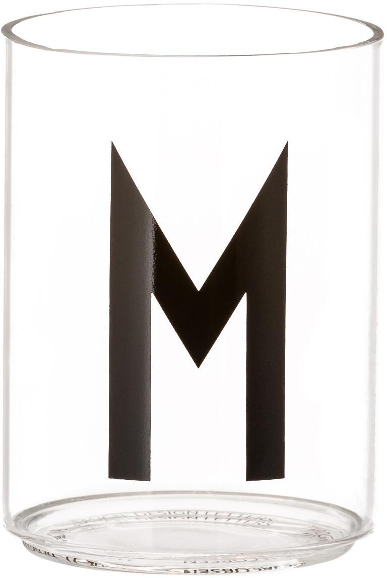 Waterglas Personal met designletters (varianten van A tot Z), Borosilicaatglas, Transparant, zwart, Waterglas M