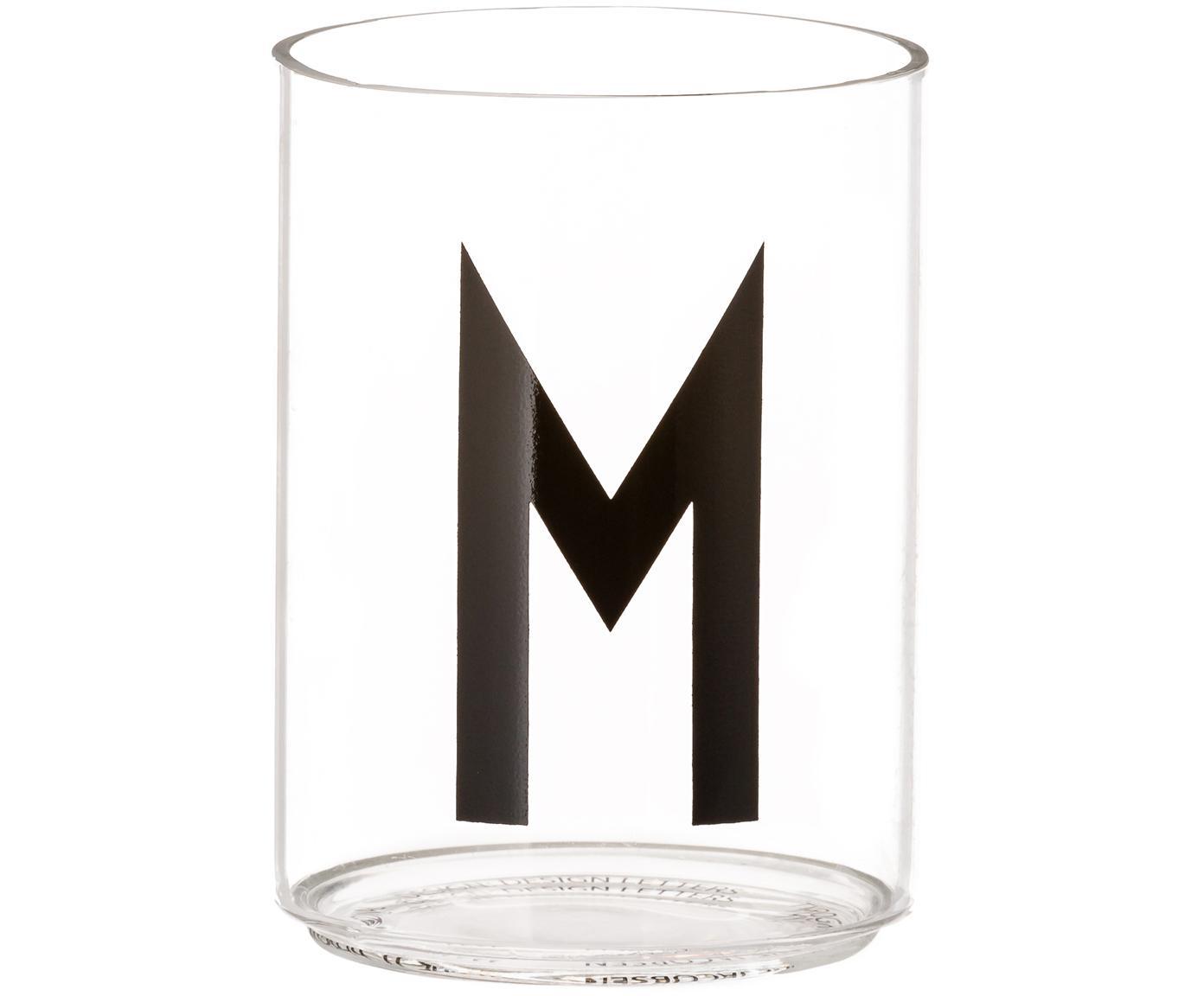 Wasserglas Personal mit Designletters (Varianten von A bis Z), Borosilikatglas, Transparent, Schwarz, Wasserglas M