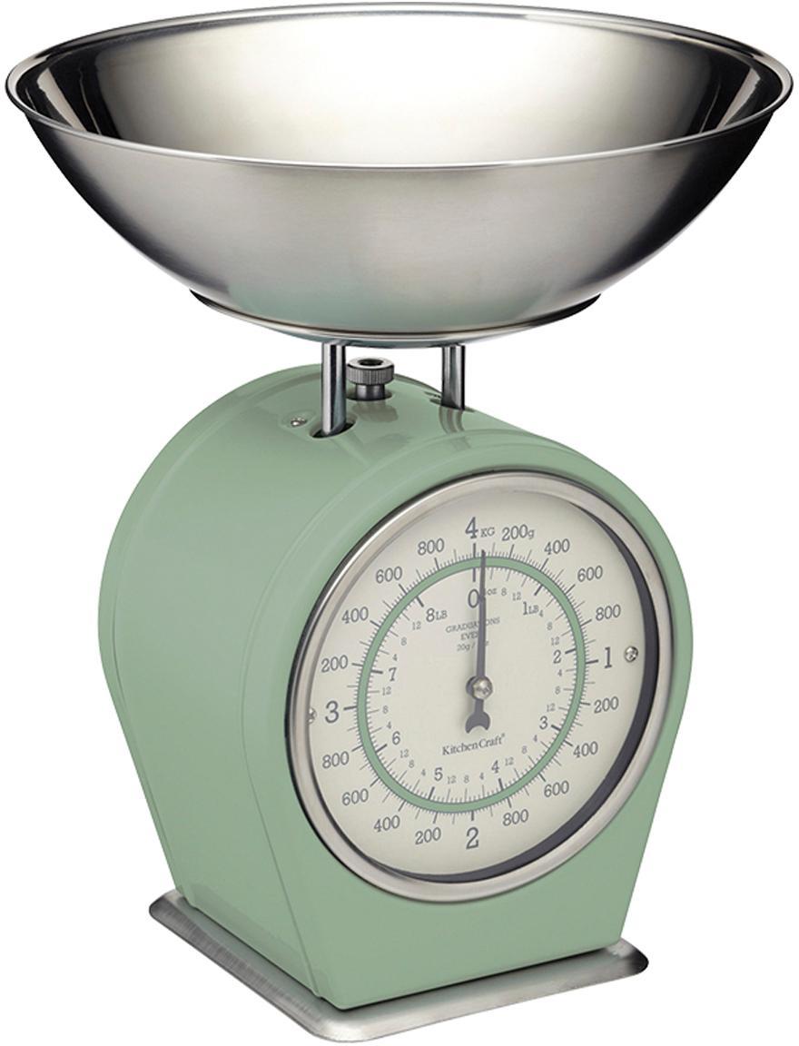 Bilancia da cucina Nostalgia, Acciaio inossidabile, parzialmente rivestito, Verde, Larg. 25 x Alt. 30 cm