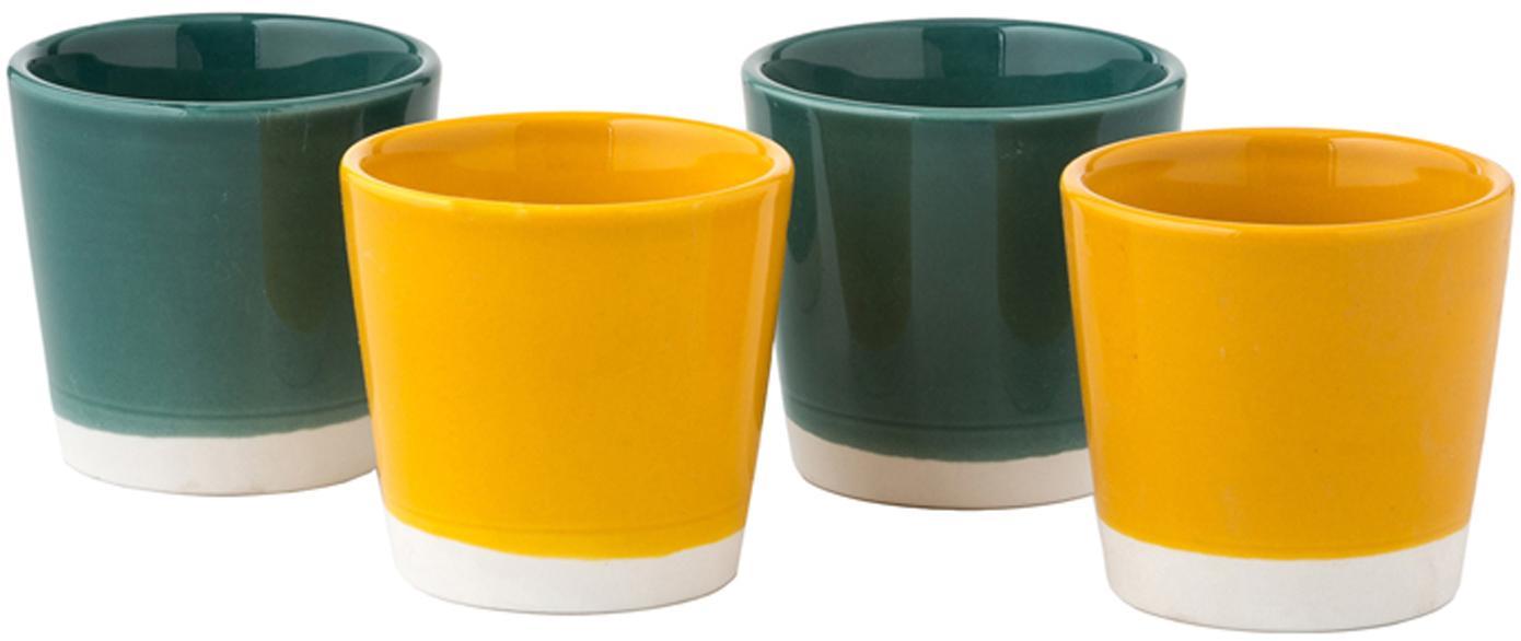 Set 4 tazze da caffè Yen, Pietra arenaria, Tazze 1 e 2: bianco, verde Tazze 3 e 4: bianco, giallo, Ø 7 x Alt. 6 cm