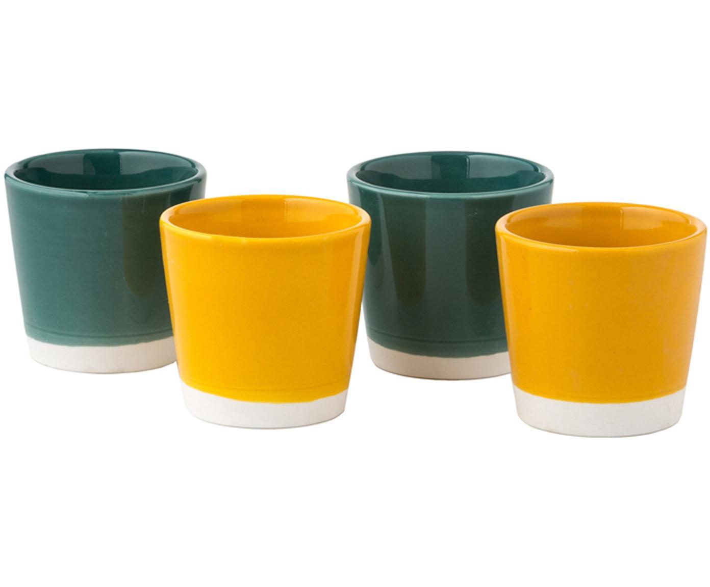 Set tazze da caffè Yen, 4 pz., Pietra arenaria, Tazze 1 e 2: bianco, verde Tazze 3 e 4: bianco, giallo, Ø 7 x A 6 cm