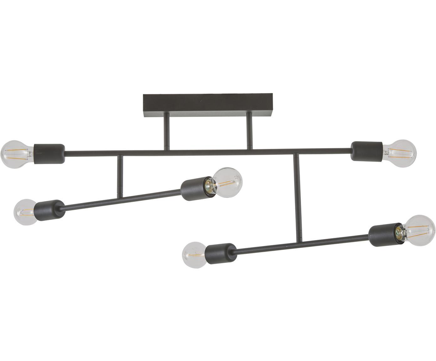 Plafondlamp Joni, Gepoedercoat metaal, Zwart, 75 x 36 cm
