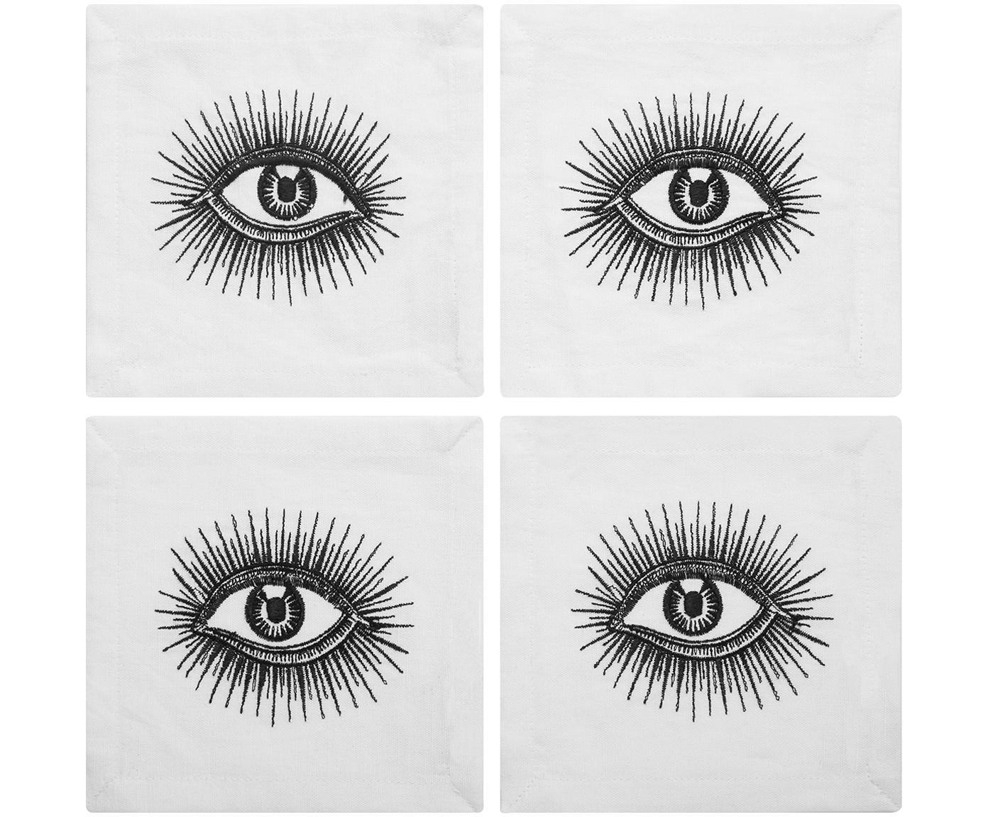 Designer Cocktail-Leinen-Servietten Eyes, 4 Stück, Leinen, Schwarz, Weiss, 15 x 15 cm