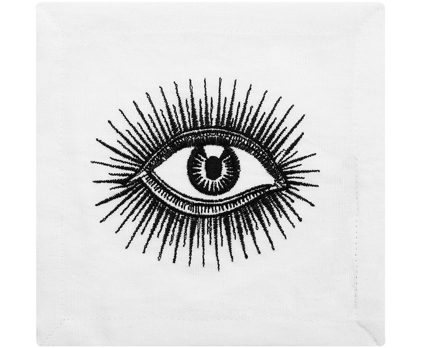 Designer Cocktail-Leinen-Servietten Eyes, 4 Stück, Leinen, Schwarz, Weiß, 15 x 15 cm