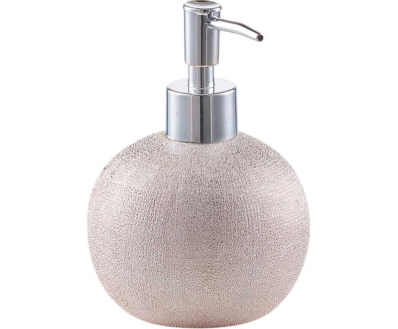 Dosificador de jabón Glitter, Recipiente: gres, Dosificador: metal, Rosa dorado, Ø 10 x Al 15 cm