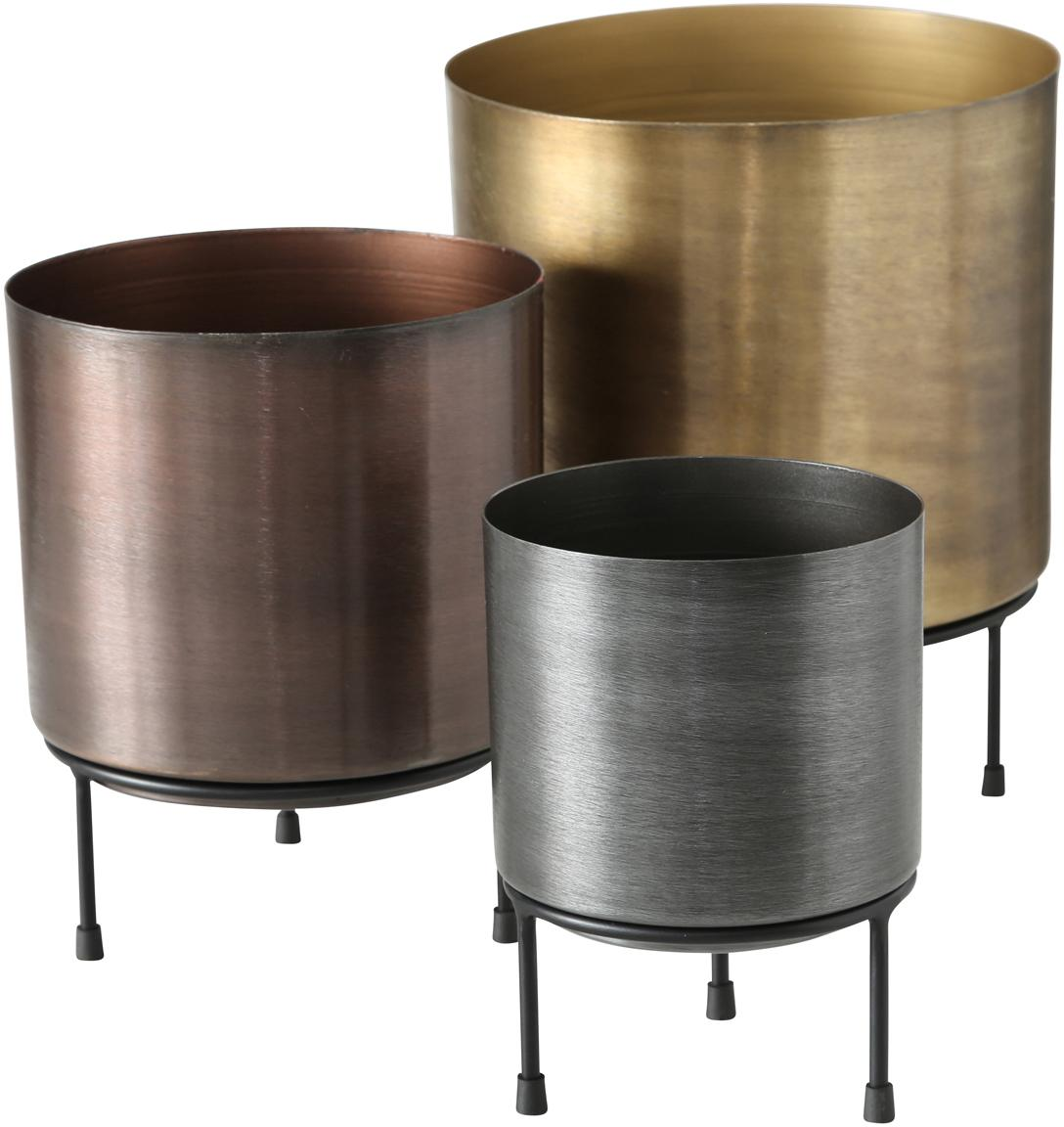 Übertopf-Set Dean aus Metall, 3-tlg., Metall, Mehrfarbig, Sondergrößen