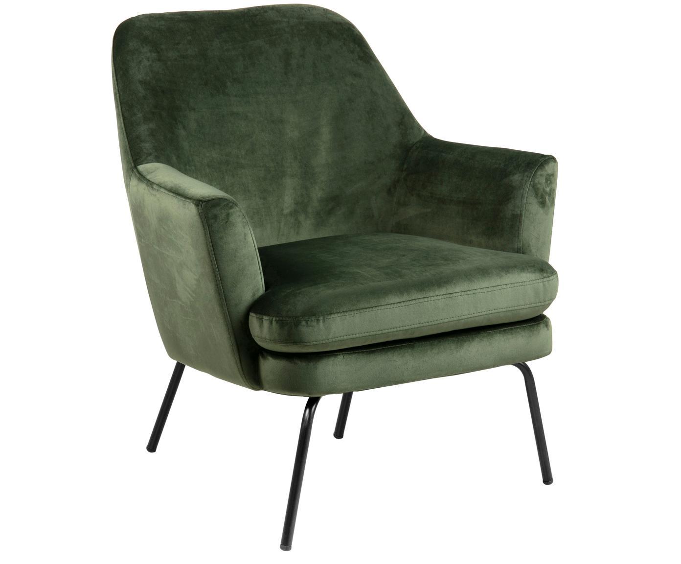 Fluwelen fauteuil Chisa, Bekleding: polyester (fluweel), Poten: gepoedercoat metaal, Bosgroen, B 58 x D 50 cm