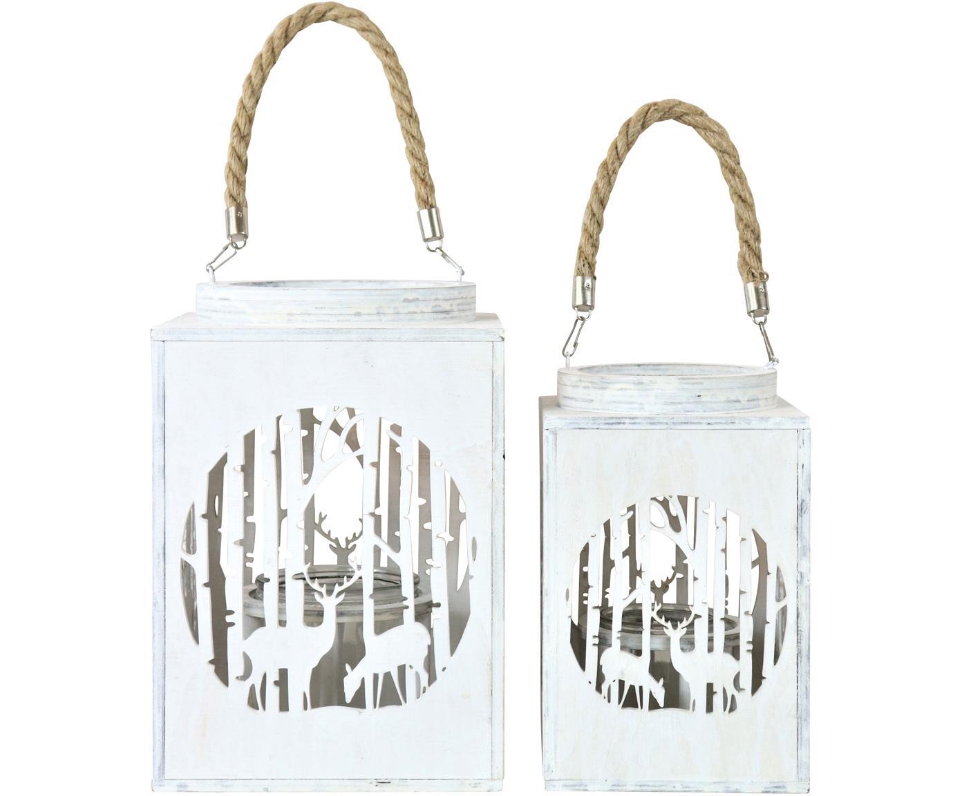Set 2 lanterne Selva, Bianco, Diverse dimensioni