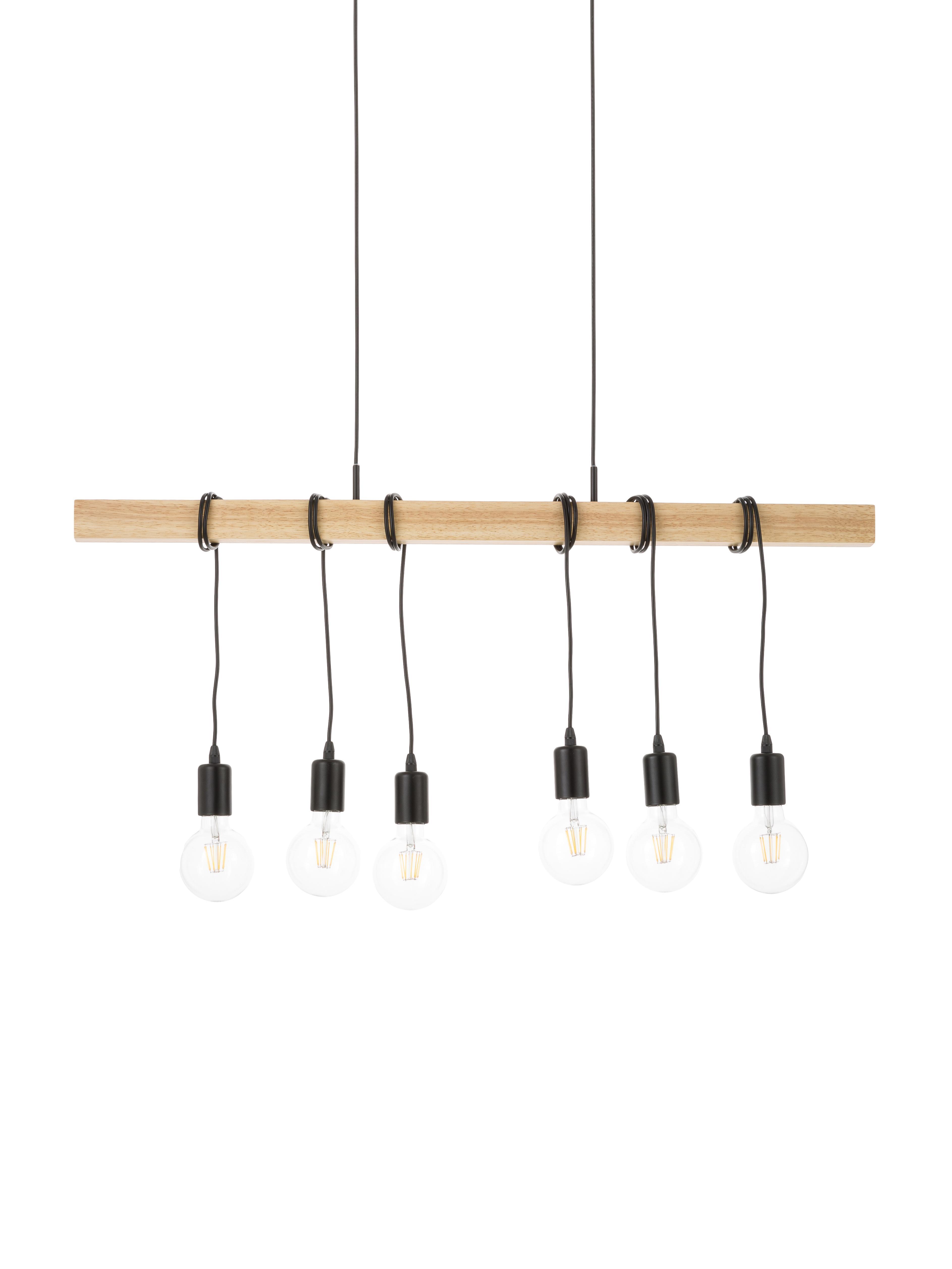 Lampada a sospensione Townshend, Nero, legno naturale, Larg. 100 x Alt. 110 cm