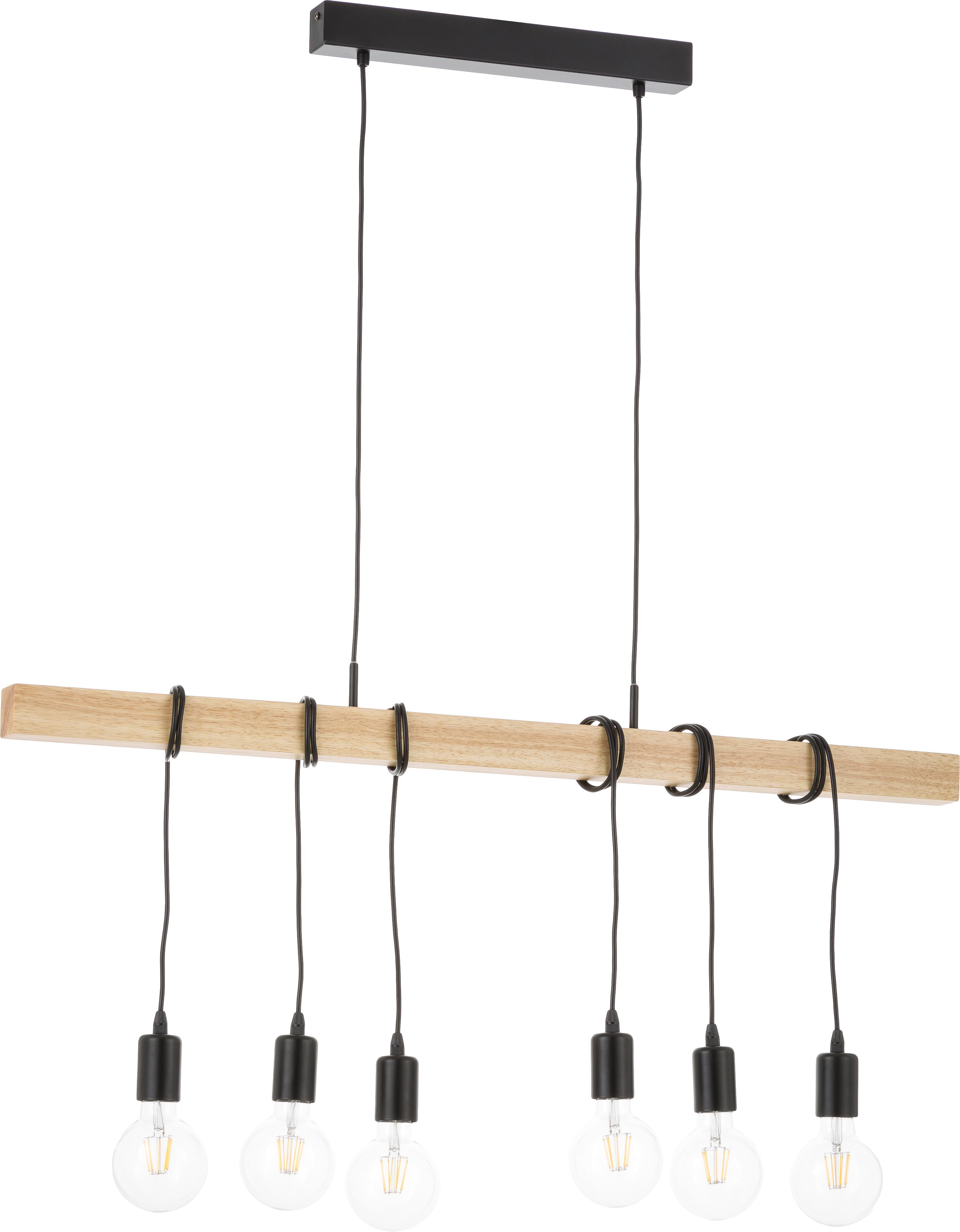 Suspension industrielle bois et acier, grande taille Townshend, Noir, bois