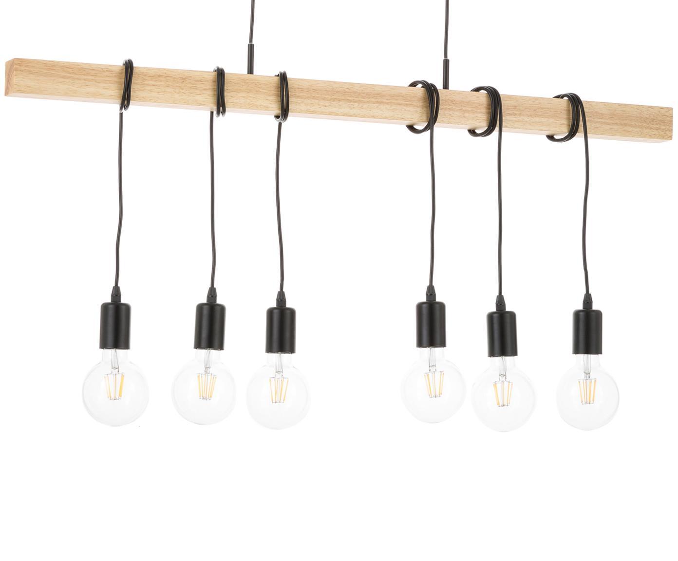 Lámpara de techo grande Townshend, estilo retro, Negro, madera, An 100 x Al 110 cm