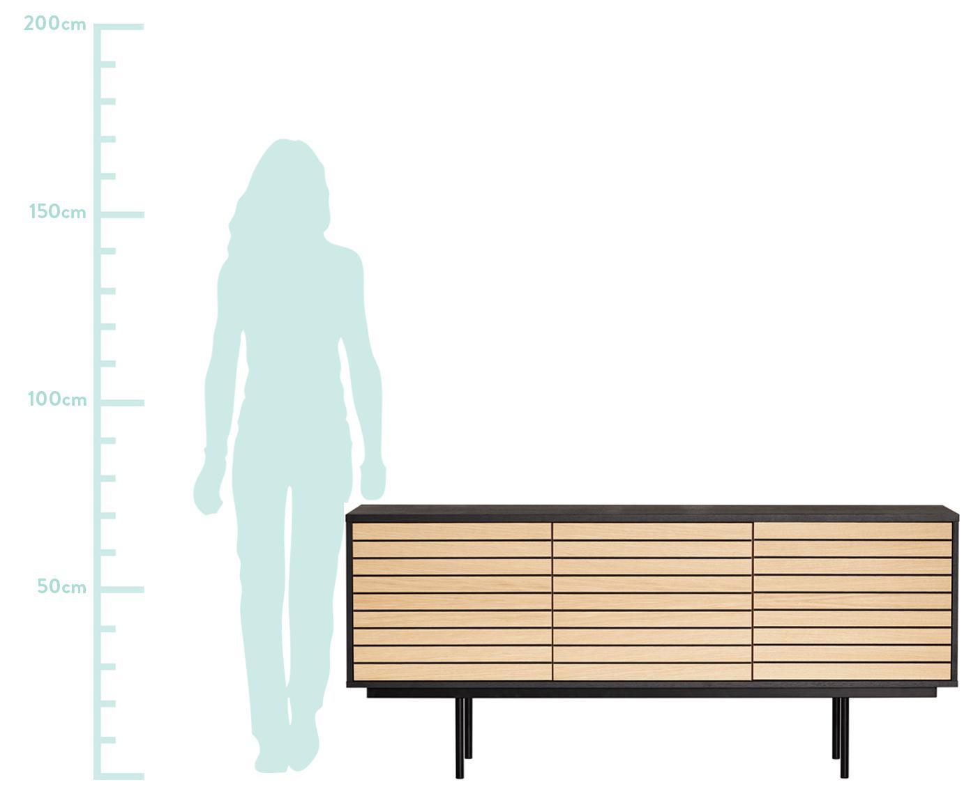 Sideboard Stripe mit Eichenholzfurnier, Korpus: Mitteldichte Holzfaserpla, Füße: Metall, pulverbeschichtet, Eichenholz, Schwarz, 161 x 70 cm
