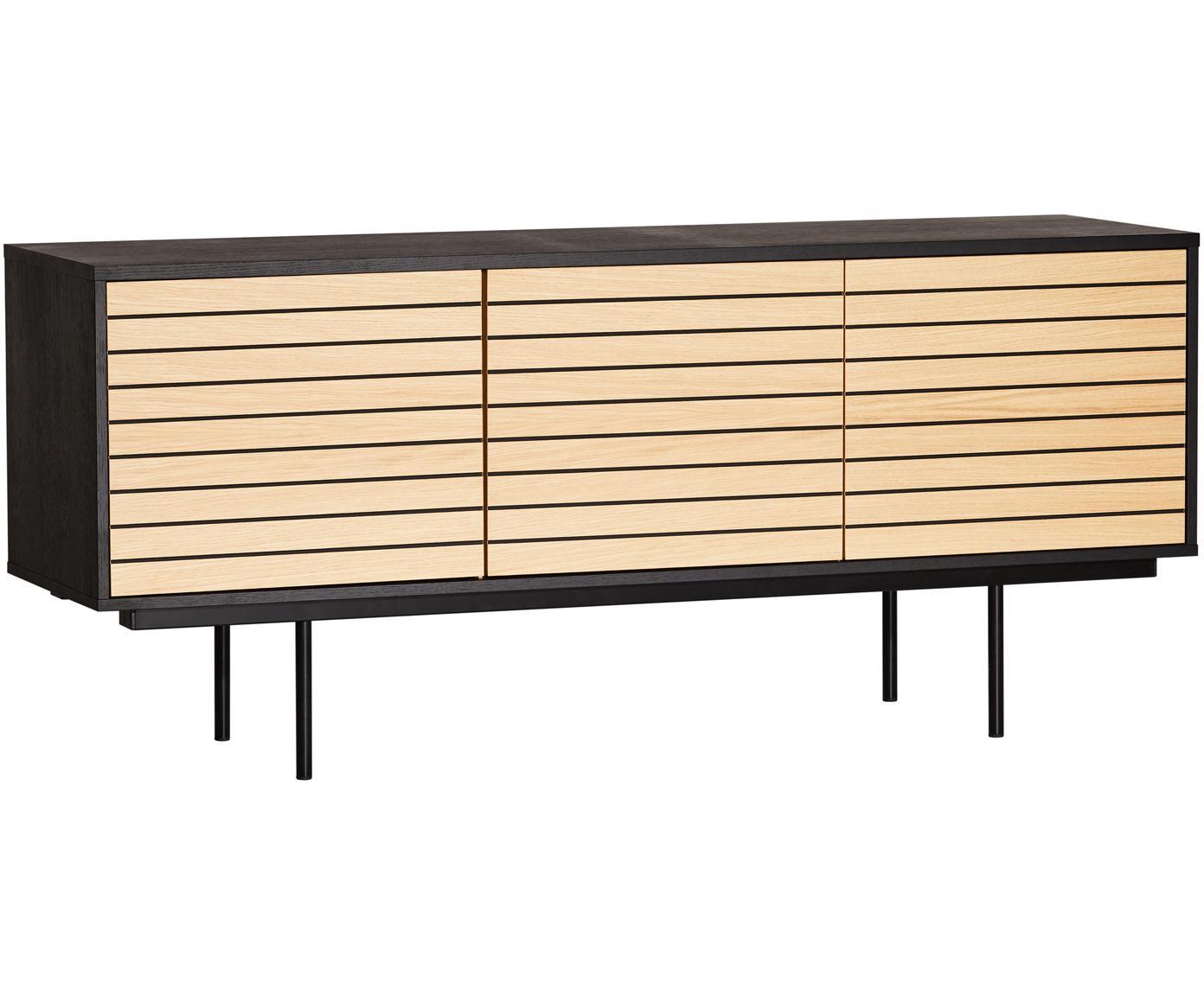 Aparador en roble Stripe, Estructura: tablero de fibras de dens, Patas: metal, pintura en polvo, Roble, negro, An 161 x Al 70 cm