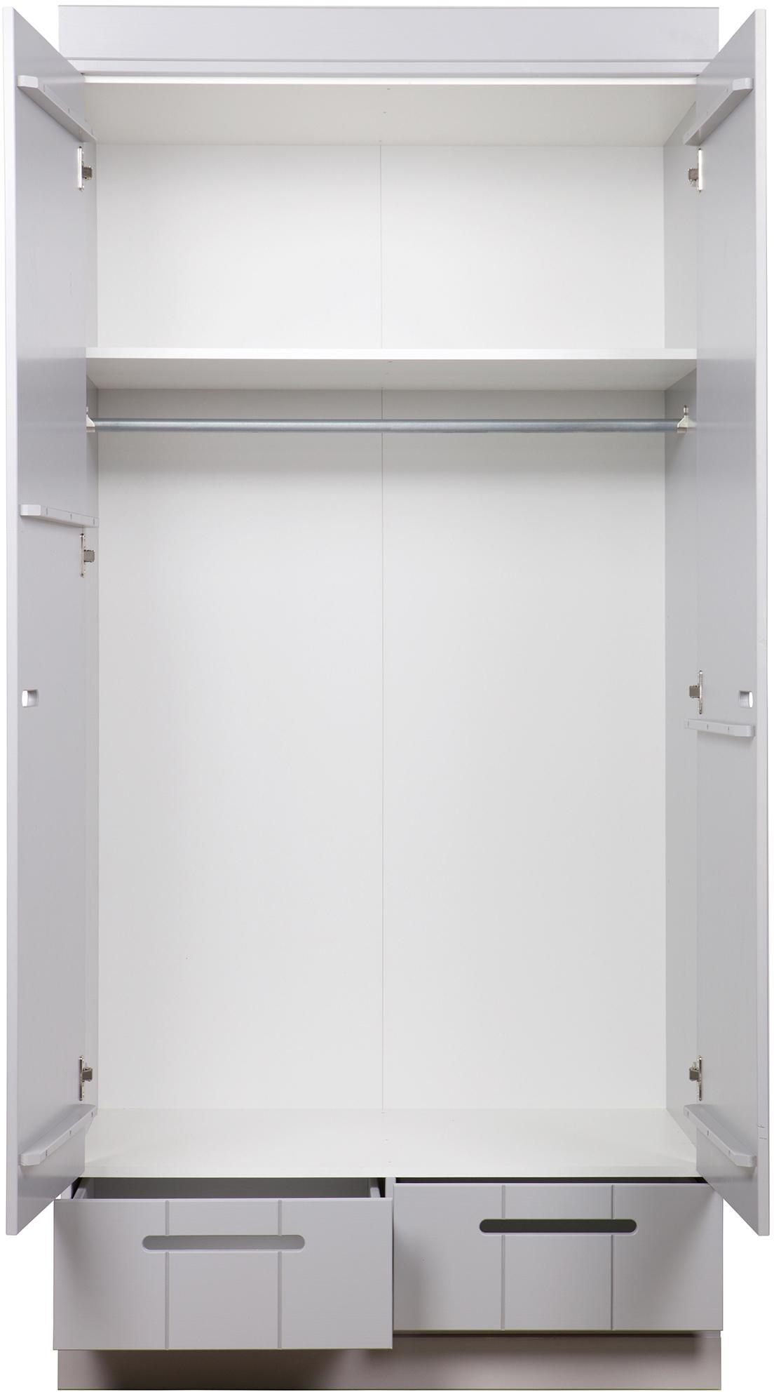 Dvoudvéřová šatní skříň Connect, Betonová šedá
