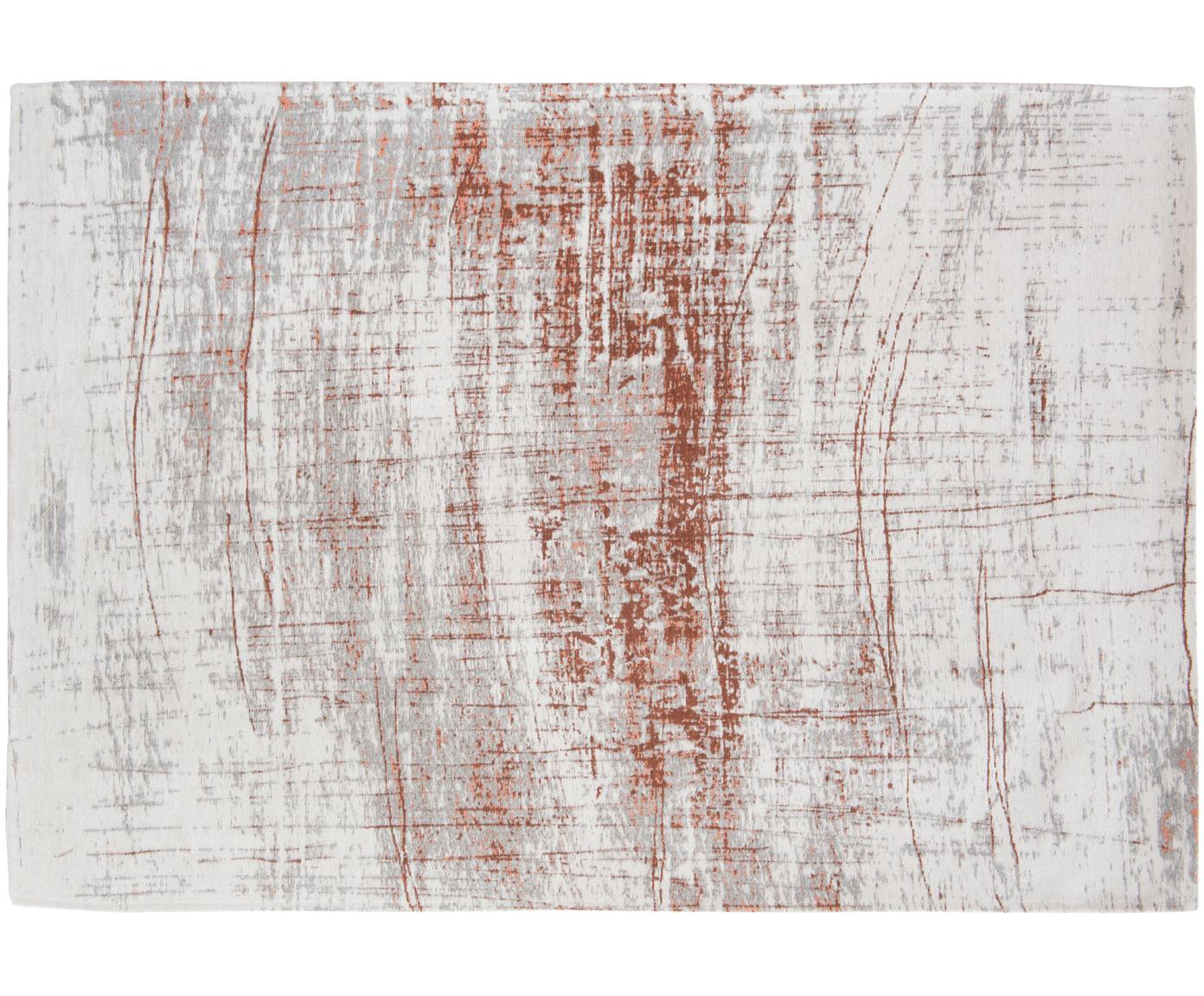 Vloerkleed Griff, Bovenzijde: 85%katoen, 15%hoogglanz, Weeftechniek: jacquard, Onderzijde: katoenmix, gecoat met lat, Bovenzijde: grijs, koperkleurig, gebroken wit, 140 x 200 cm