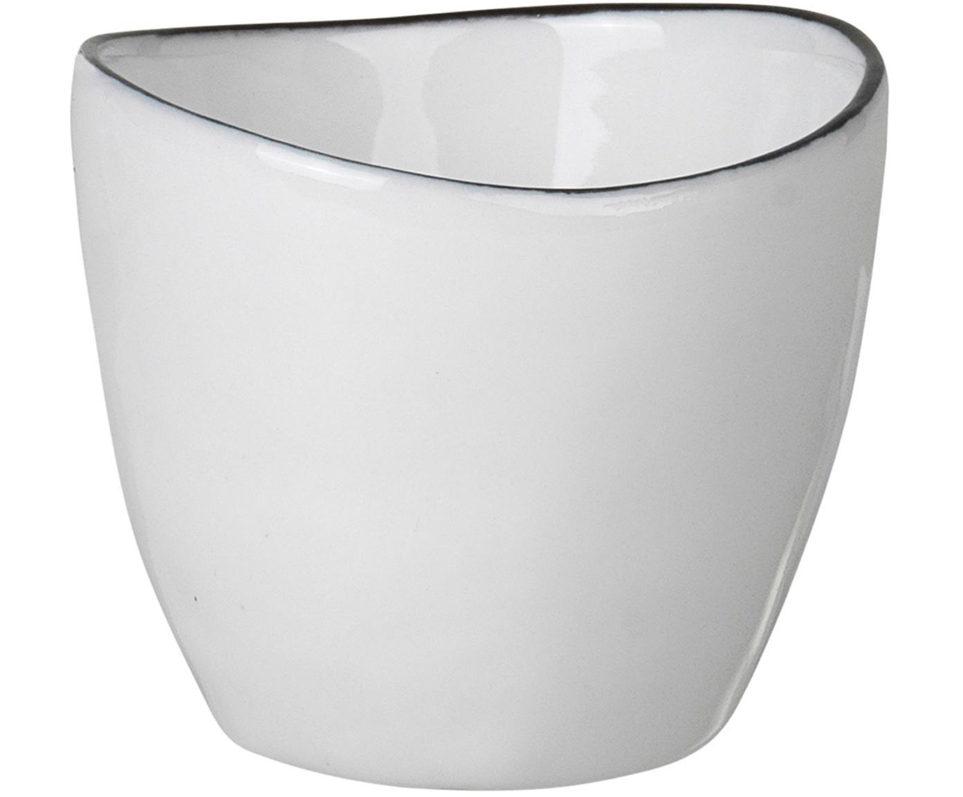 Set 4 portauova fatto a mano Salt, Porcellana, Bianco latteo, nero, Ø 5 x Alt. 4 cm