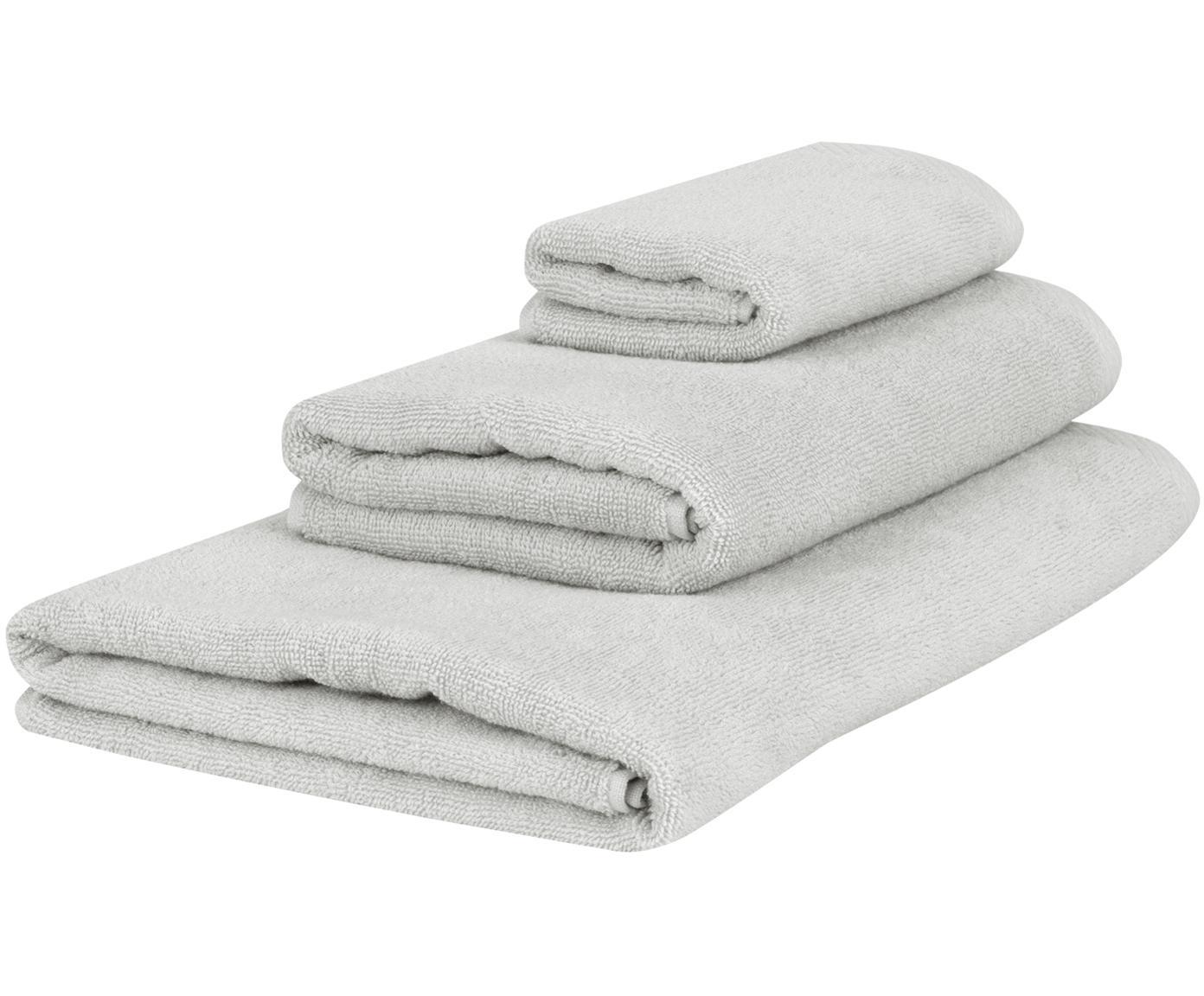 Set 3 asciugamani Comfort, Grigio chiaro, Diverse dimensioni