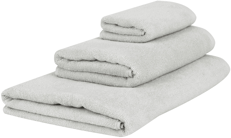 Einfarbiges Handtuch-Set Comfort, 3-tlg., Hellgrau, Verschiedene Grössen