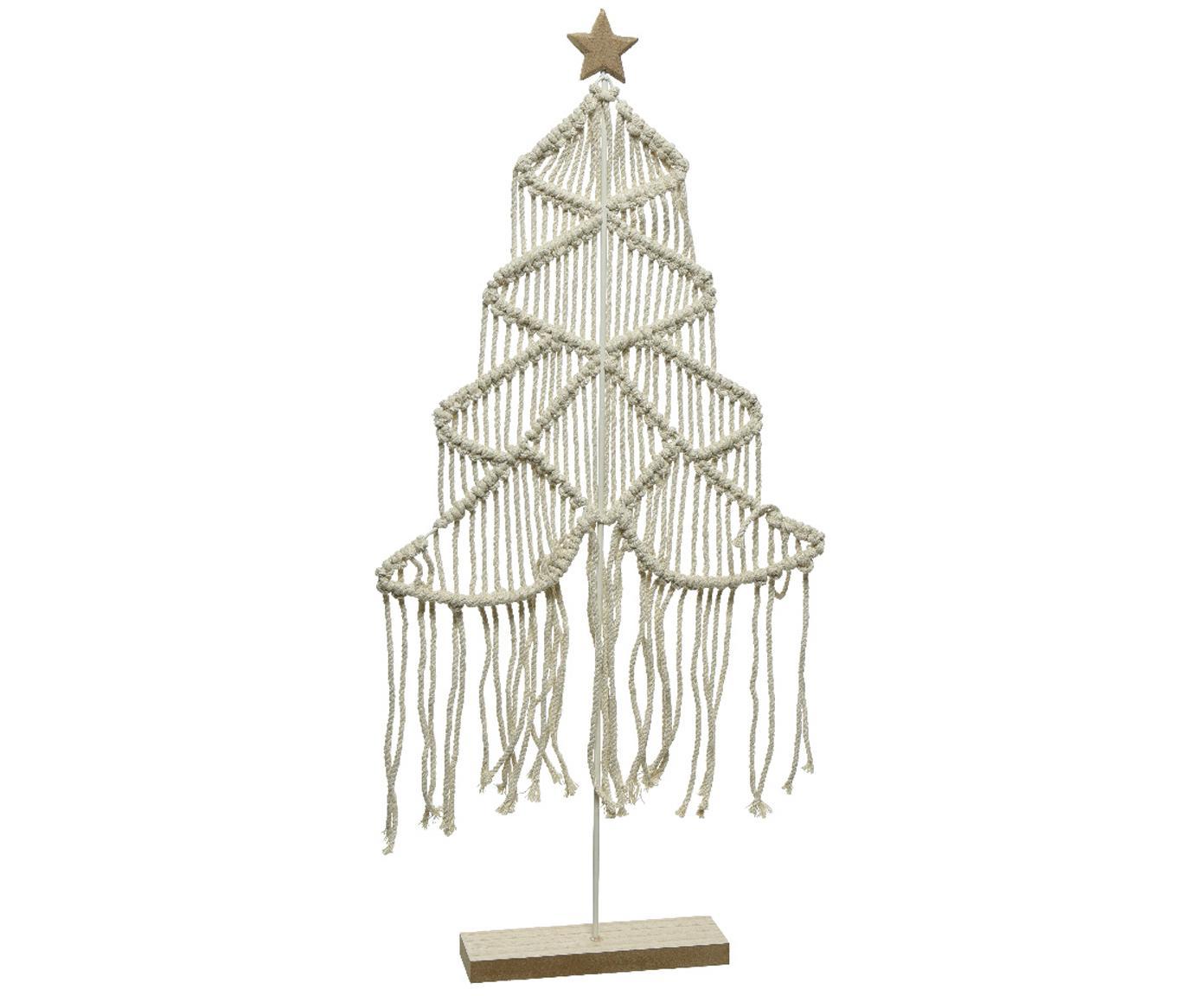 Albero di Natale in cotone Winter, Struttura: metallo rivestito, Bianco, marrone, Larg. 32 x Alt. 64 cm
