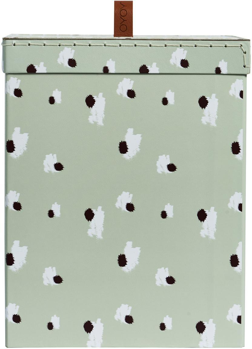 Caja Inga, Cartón, Verde menta, blanco, negro, An 21 x Al 27 cm