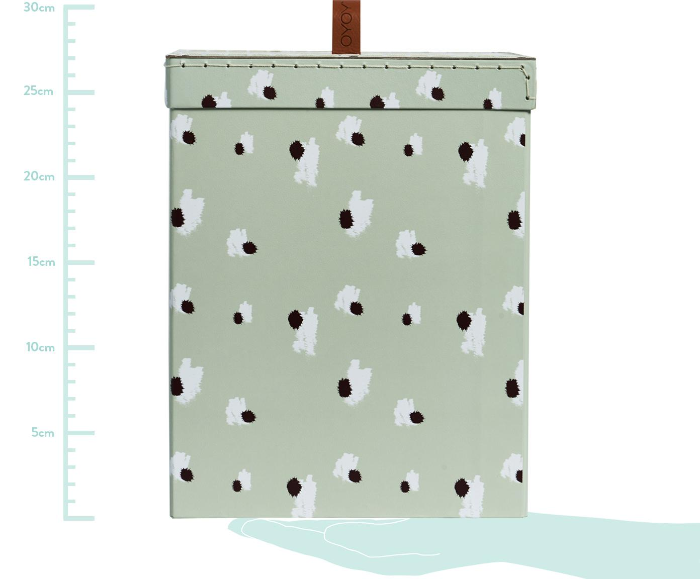 Aufbewahrungsbox Inga, Karton, Mintgrün, Weiß, Schwarz, 21 x 27 cm