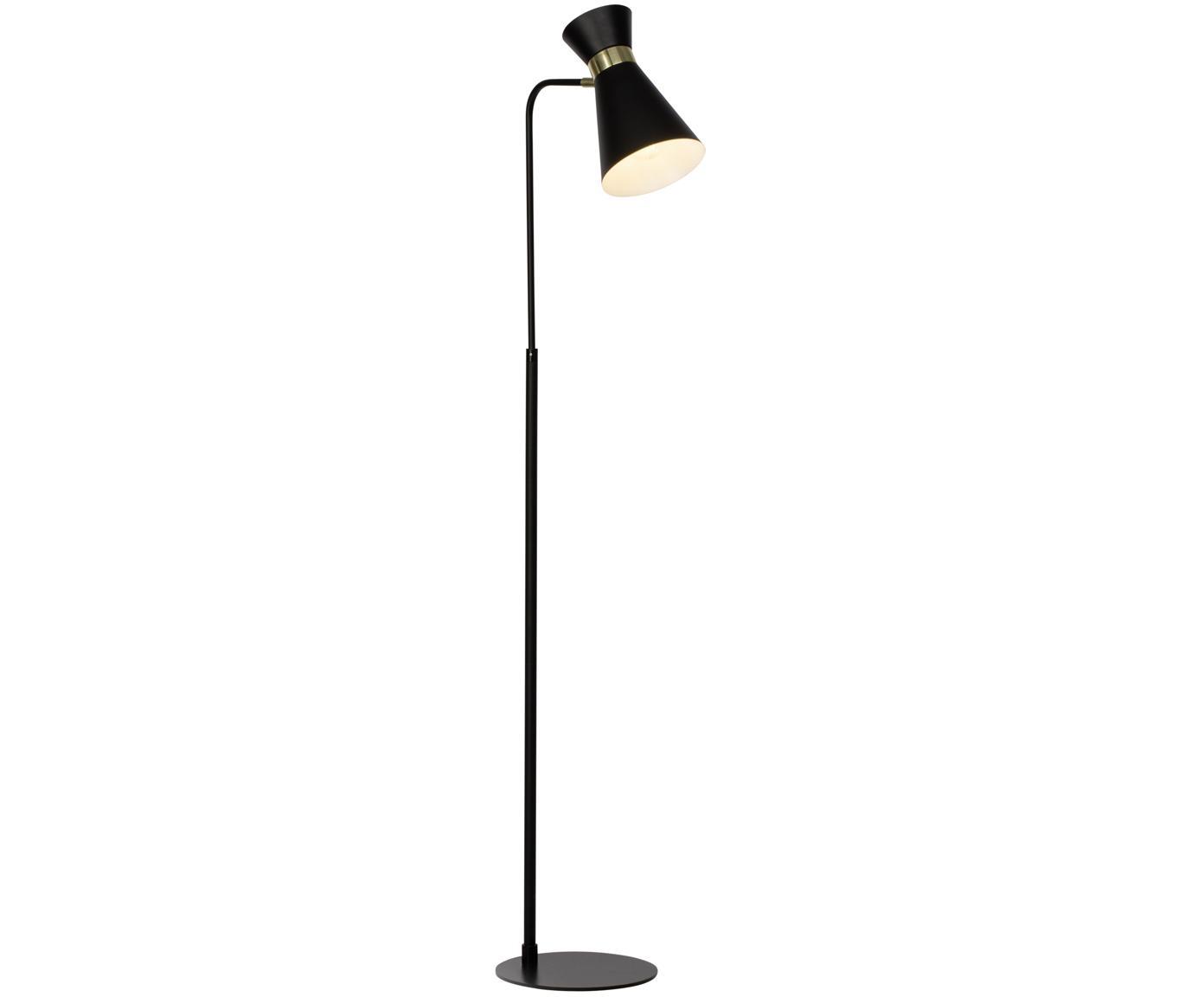Leeslamp Grazia, verstelbaar, Gelakt metaal, Lampvoet en lampenkap: zwart. Bevestiging: mat goudkleurig, 39 x 144 cm