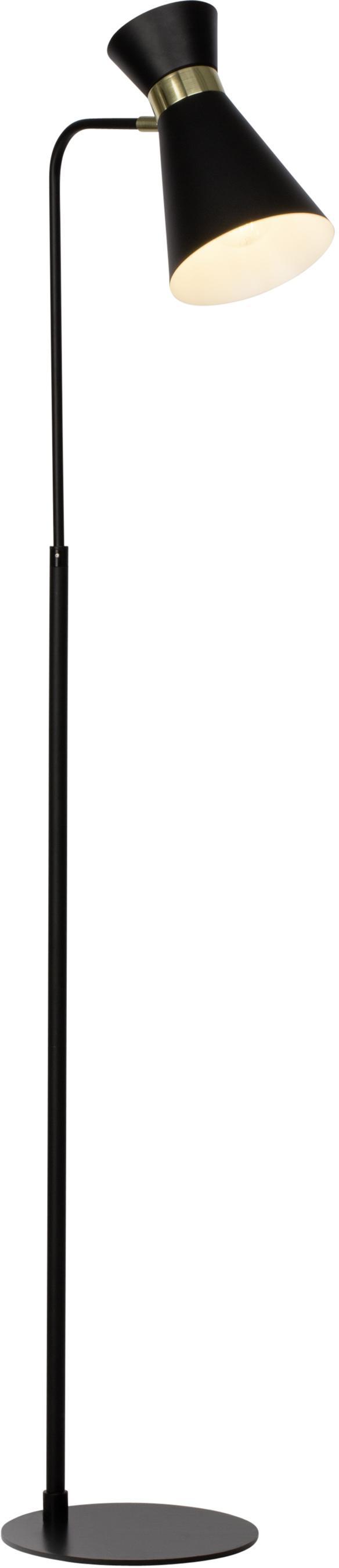 Lampada da terra regolabile Grazia, Metallo verniciato, Base della lampada e paralume: nero Attacco: dorato opaco, Larg. 39 x Alt. 144 cm