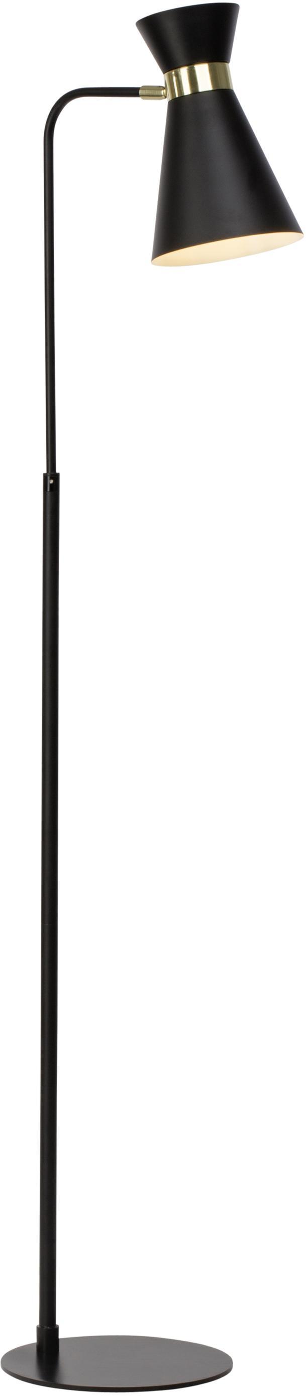 Retro-Leselampe Grazia aus Metall, Lampenschirm: Metall, lackiert, Lampenfuß: Metall, lackiert, Dekor: Metall, vermessingt, Lampenfuß und Lampenschirm: Schwarz<br>Befestigung: Goldfarben, matt, 39 x 144 cm