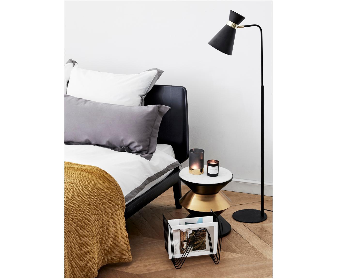 Lampa podłogowa z regulacją wysokości Grazia, Metal lakierowany, Podstawa lampy i klosz: czarny Mocowanie: odcienie złotego, matowy, S 39 x W 144 cm