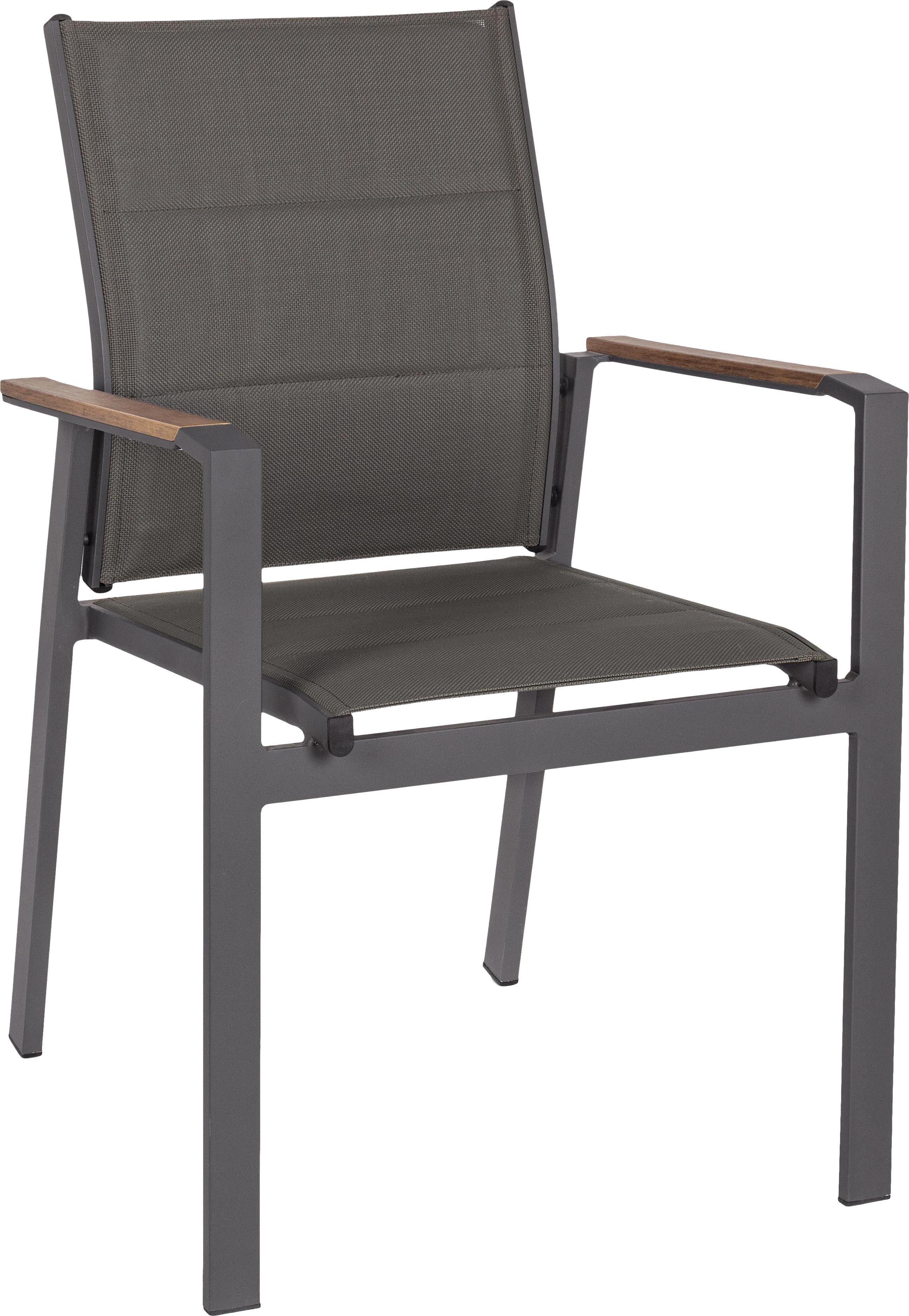 Tuinstoel Kubik, Frame: gepoedercoat aluminium, Zitvlak: Textilene, Antraciet, bruin, B 57 x D 62 cm