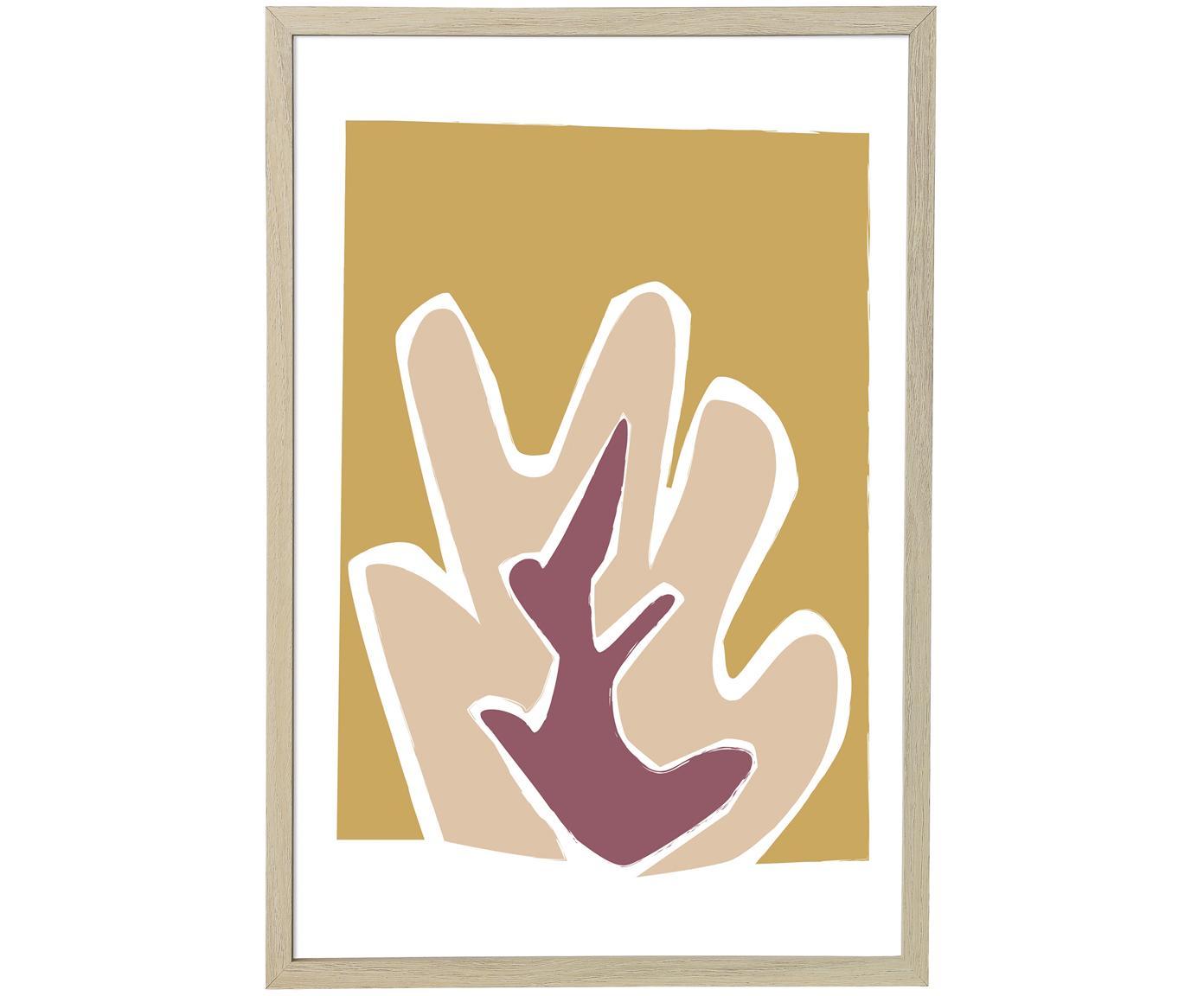 Ingelijste digitale print Kasja, Lijst: MDF, PVC, Beige, wit, roze, mosterdgeel, 45 x 65 cm