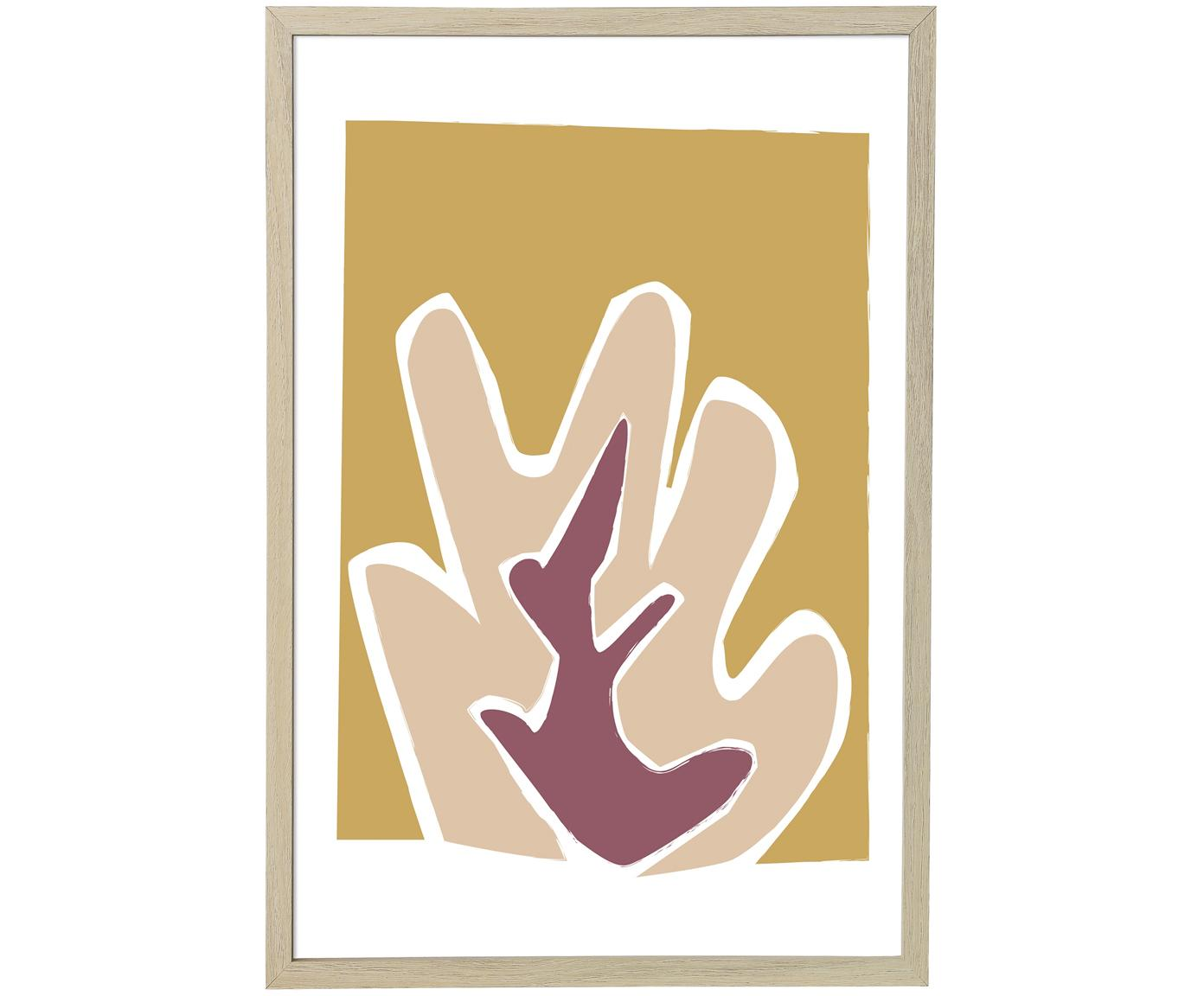 Oprawiony druk cyfrowy Kasja, Beżowy, biały, blady różowy, musztardowy, S 45 x W 65 cm
