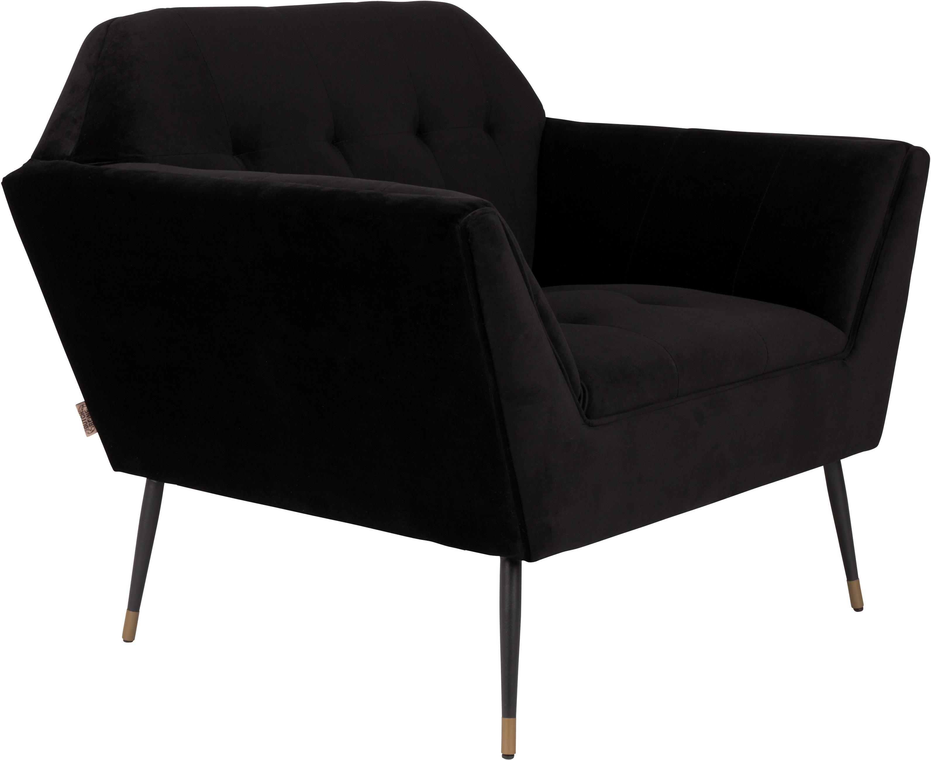 Fluwelen fauteuil Kate in zwart, Bekleding: polyester (fluweel), Poten: gepoedercoat metaal met d, Fluweel zwart, 95 x 79 cm