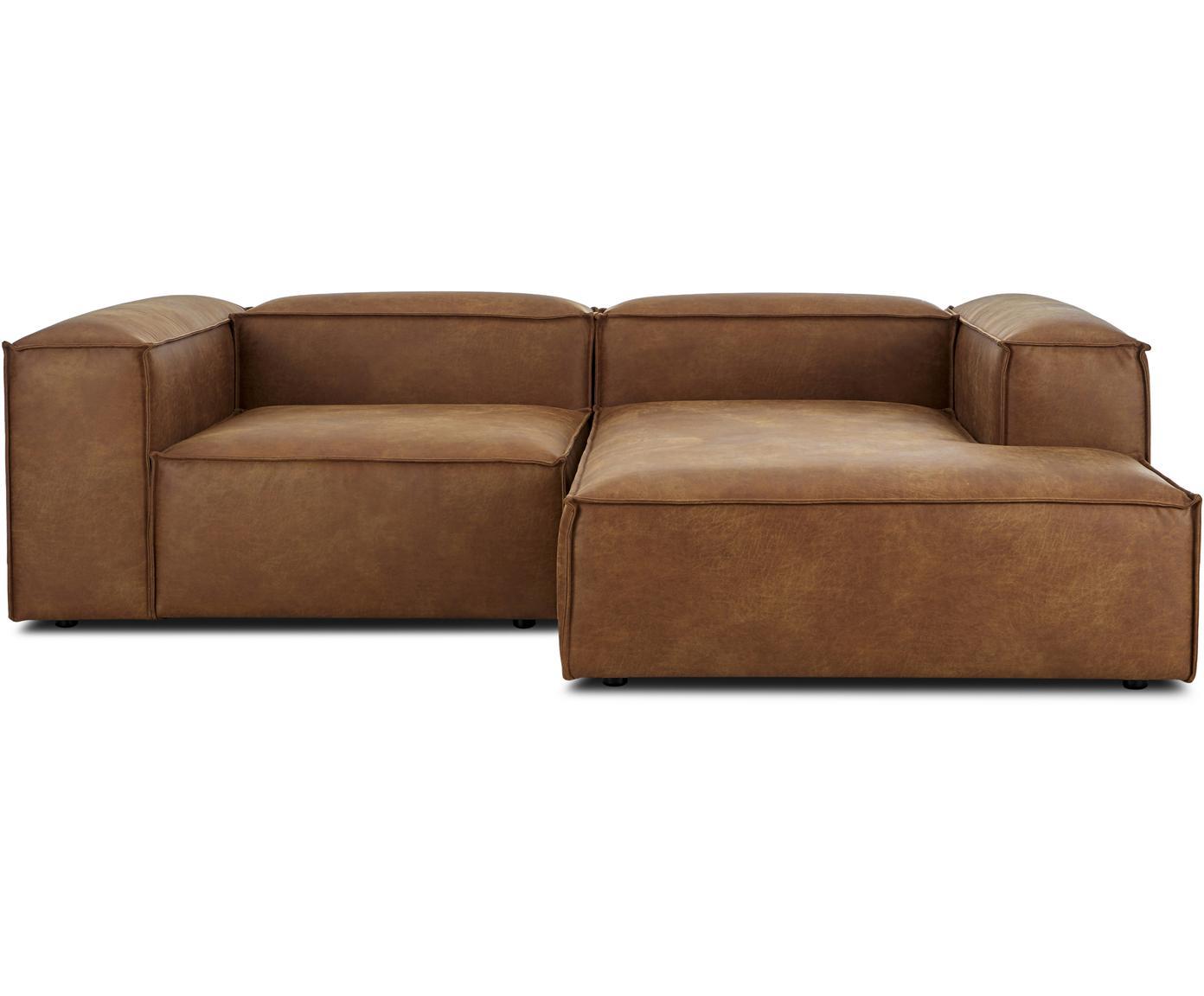 Sofa modułowa narożna ze skóry Lennon, Tapicerka: 70% skóra, 30% poliester , Stelaż: lite drewno sosnowe, płyt, Nogi: tworzywo sztuczne, Brązowy, S 238 x G 180 cm