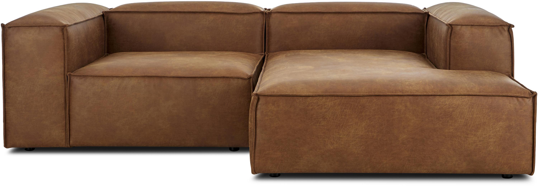 Sofá rinconera modular de cuero Lennon, Tapizado: 70%cuero, 30%poliéster , Estructura: madera de pino maciza, ma, Patas: plástico, Cuero marrón, An 238 x F 180 cm
