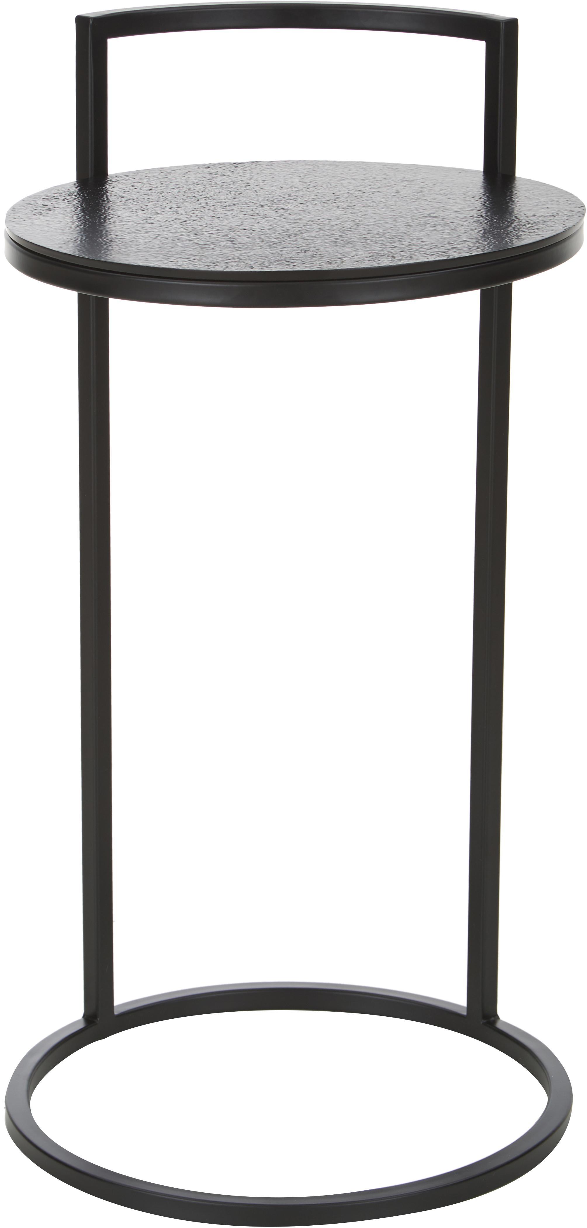 Ronde bijzettafel Circle van metaal, Tafelblad: gepoedercoat metaal, Frame: gepoedercoat metaal, Tafelblad: zwart met antieke afwerking Frame: mat zwart, Ø 36 x H 66 cm