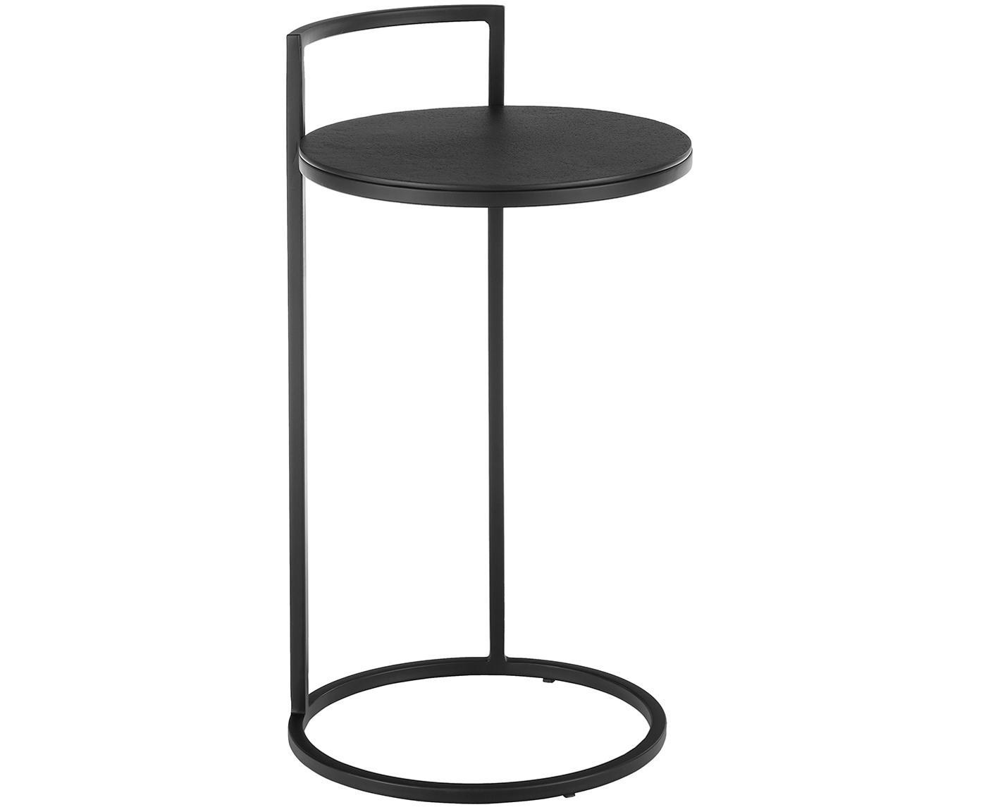 Okrągły stolik pomocniczy z metalu Circle, Blat: metal powlekany, Stelaż: metal malowany proszkowo, Blat: czarny z antycznym wykończeniem Stelaż: czarny, matowy, Ø 36 x W 66 cm