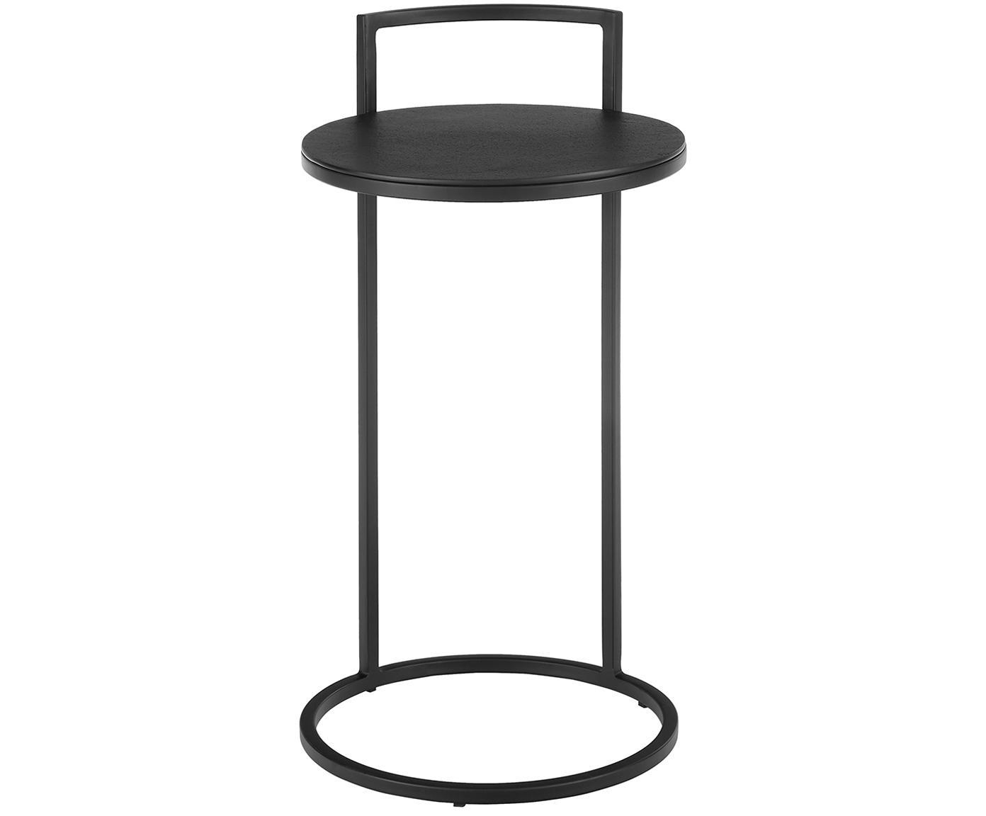 Tavolino rotondo in metallo Circle, Piano d'appoggio: metallo verniciato a polv, Struttura: metallo, verniciato a pol, Piano d'appoggio: nero con finitura antica Struttura: nero opaco, Ø 36 x Alt. 66 cm