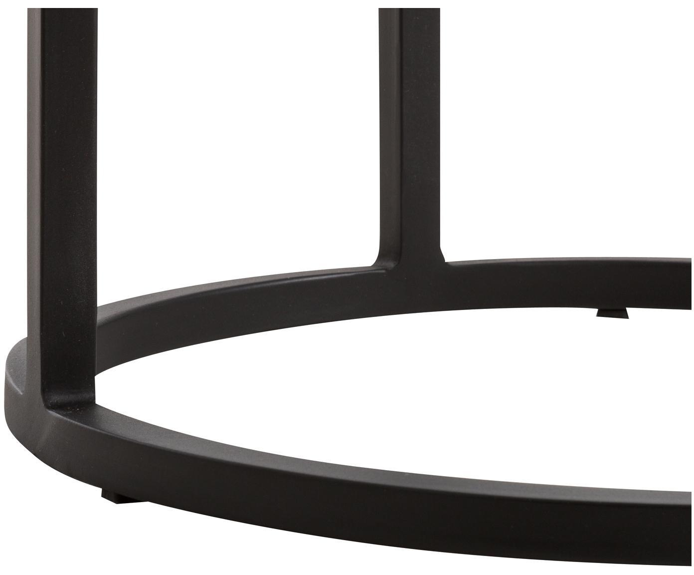 Runder Beistelltisch Circle aus Metall, Tischplatte: Metall, beschichtet, Gestell: Metall, pulverbeschichtet, Tischplatte: Schwarz mit Antik-Finish Gestell: Schwarz, matt, Ø 36 x H 66 cm