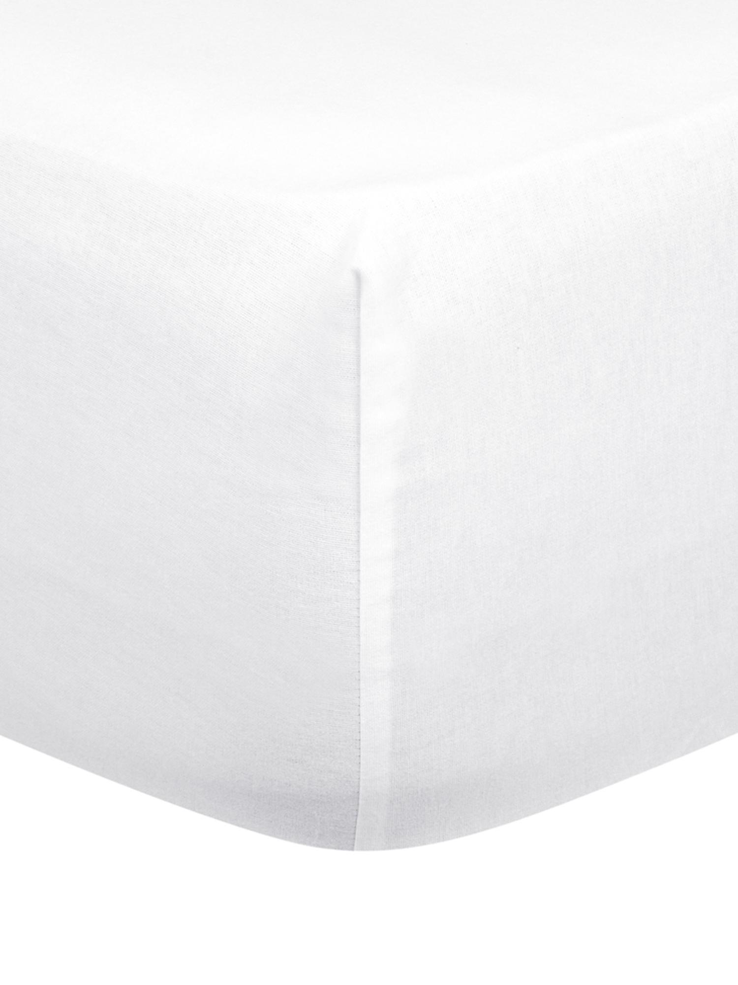 Hoeslaken Biba in wit, flanel, Weeftechniek: flanel, Wit, 90 x 200 cm