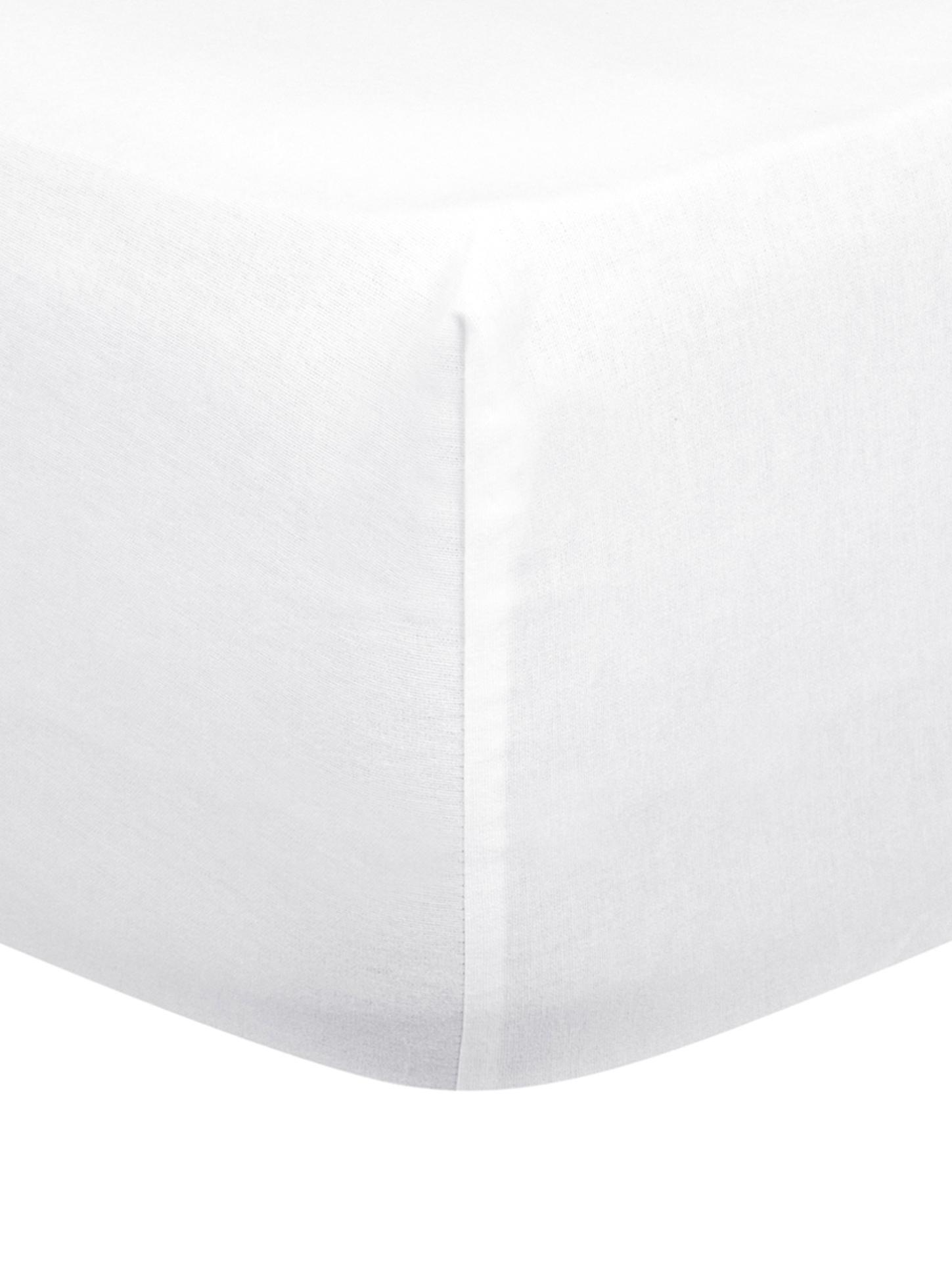 Prześcieradło z gumką z flaneli Biba, Biały, S 90 x D 200 cm