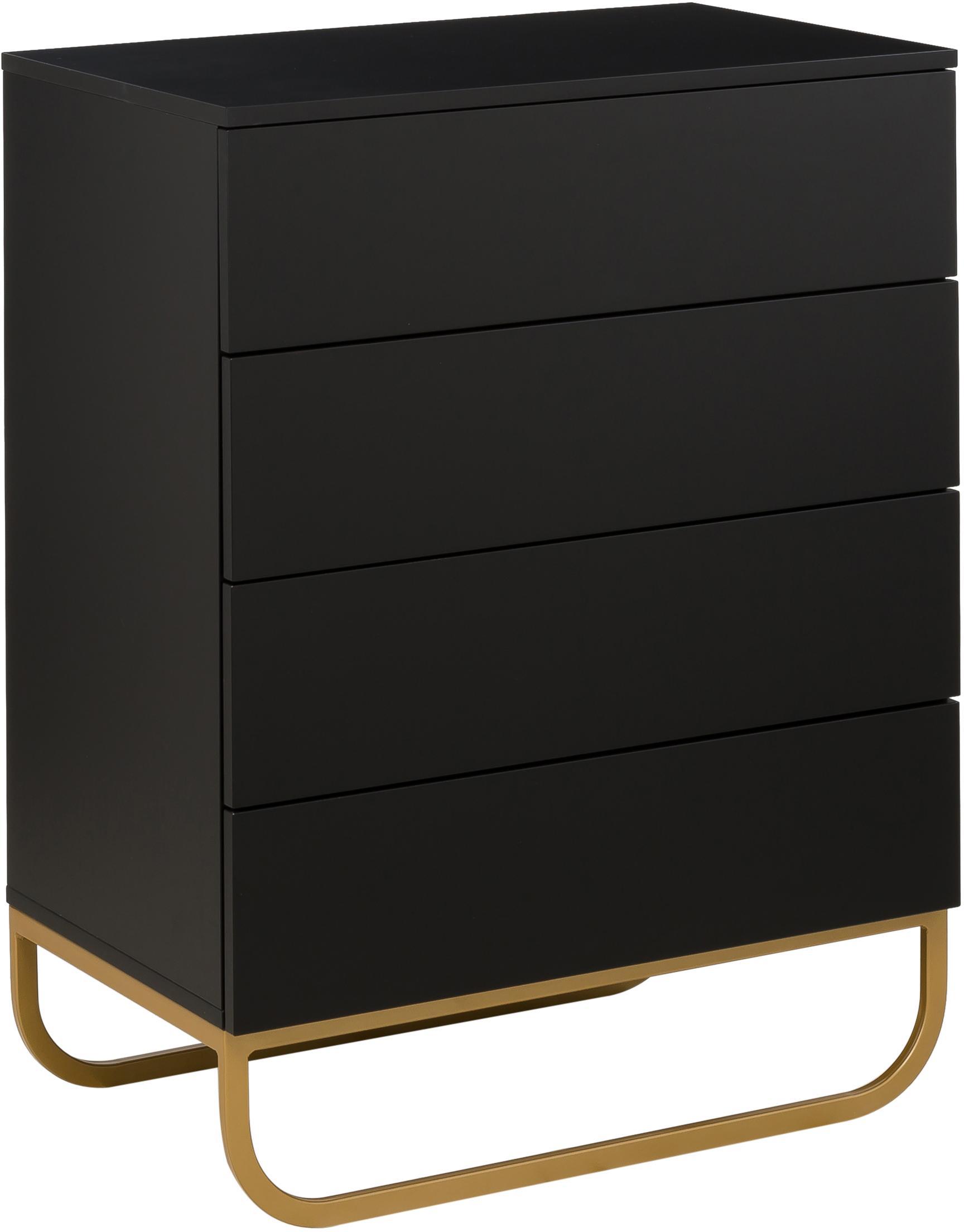 Ladekast Sanford in zwart, Frame: gelakt MDF, Frame: mat zwart. Onderstel: mat goudkleurig, 80 x 106 cm