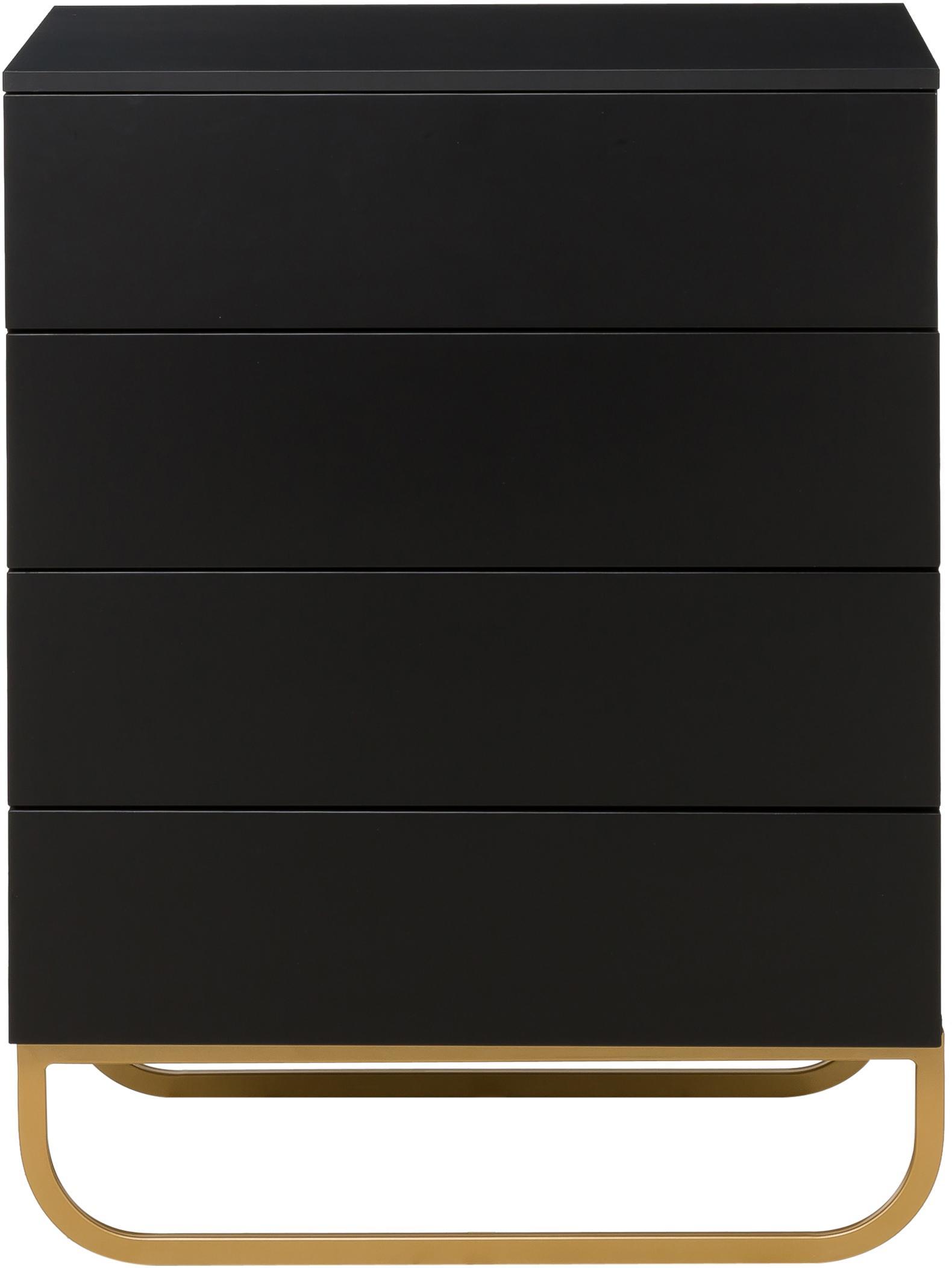 Szafka z szufladami Sanford, Korpus: płyta pilśniowa średniej , Korpus i tył: czarny, matowy Podstawa: odcienie złotego, matowy, S 80 x W 106 cm